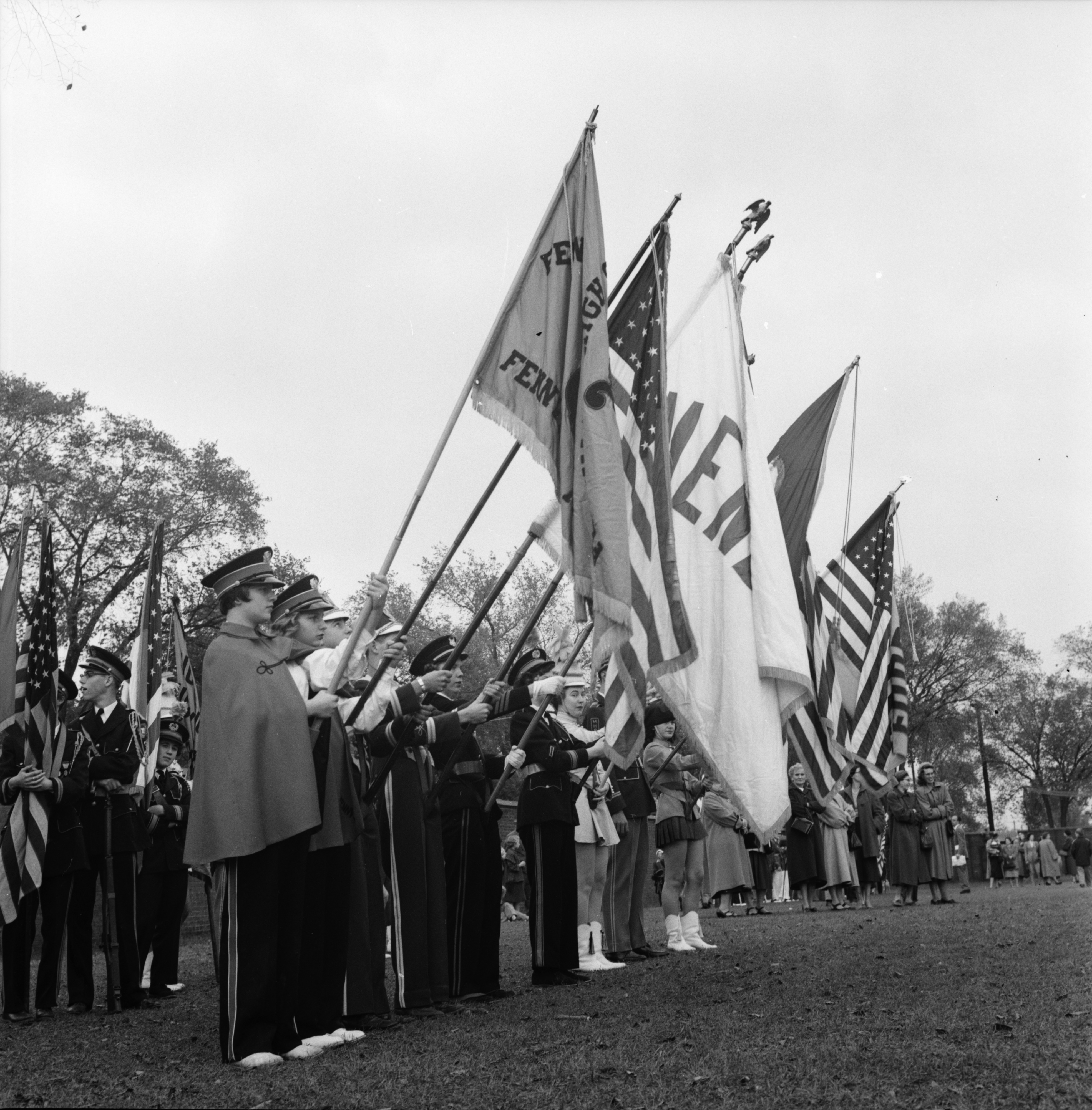High School Marching Band Performs At University of Michigan Football Game, October 1954 image