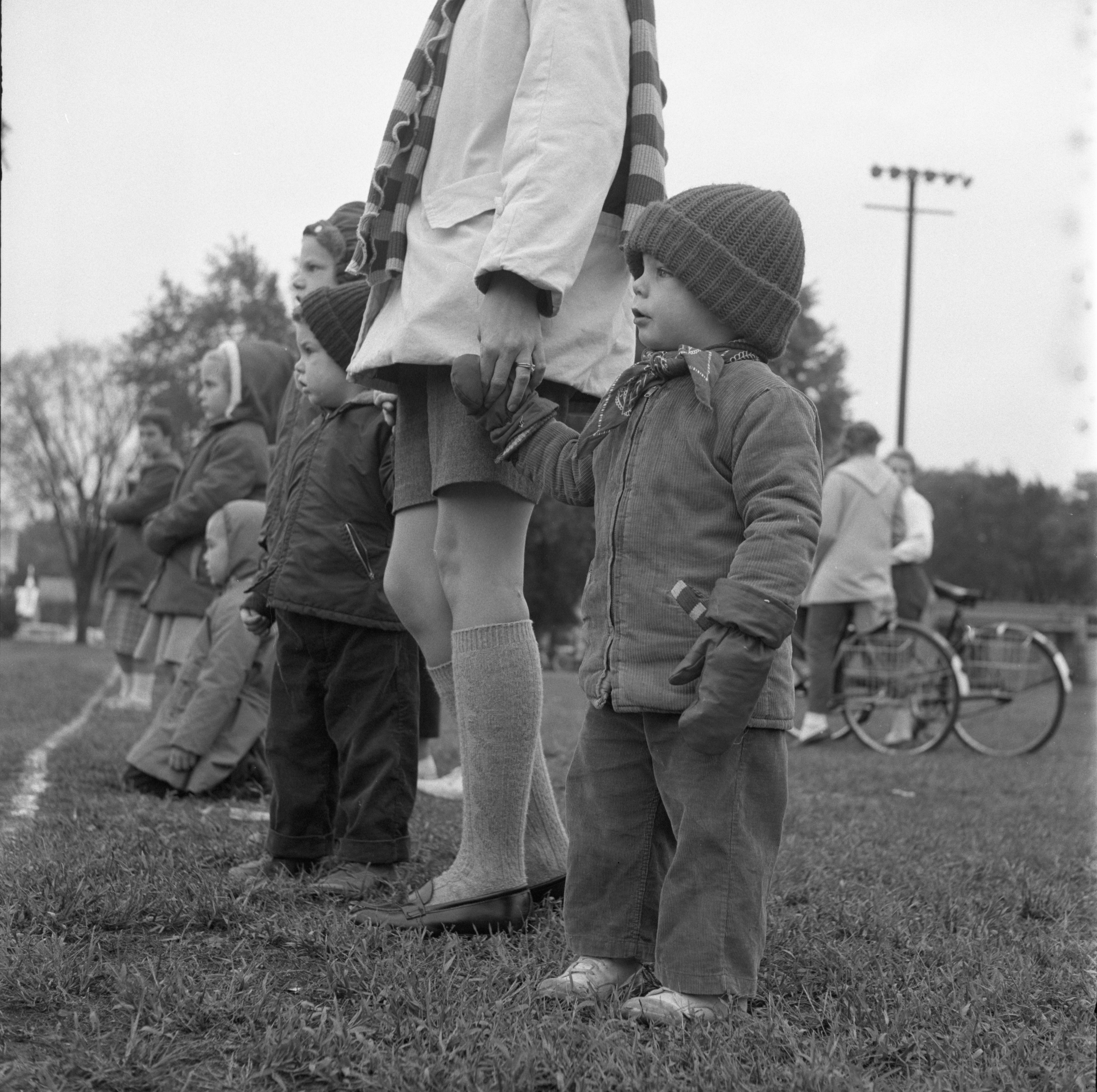 Children Watch The University of Michigan Marching Band Practice, October 1959 image