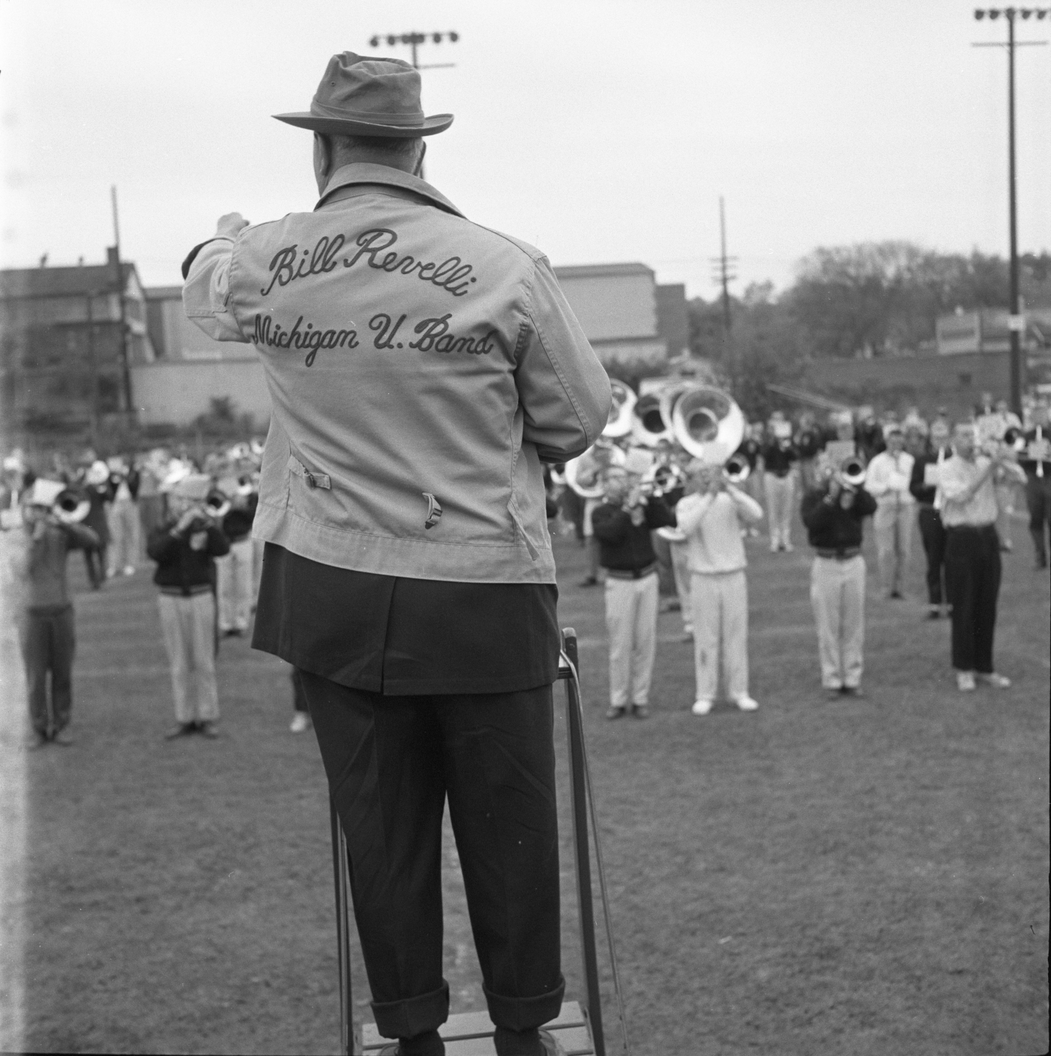 William Revelli Conducts University of Michigan Marching Band Practice, October 1959 image