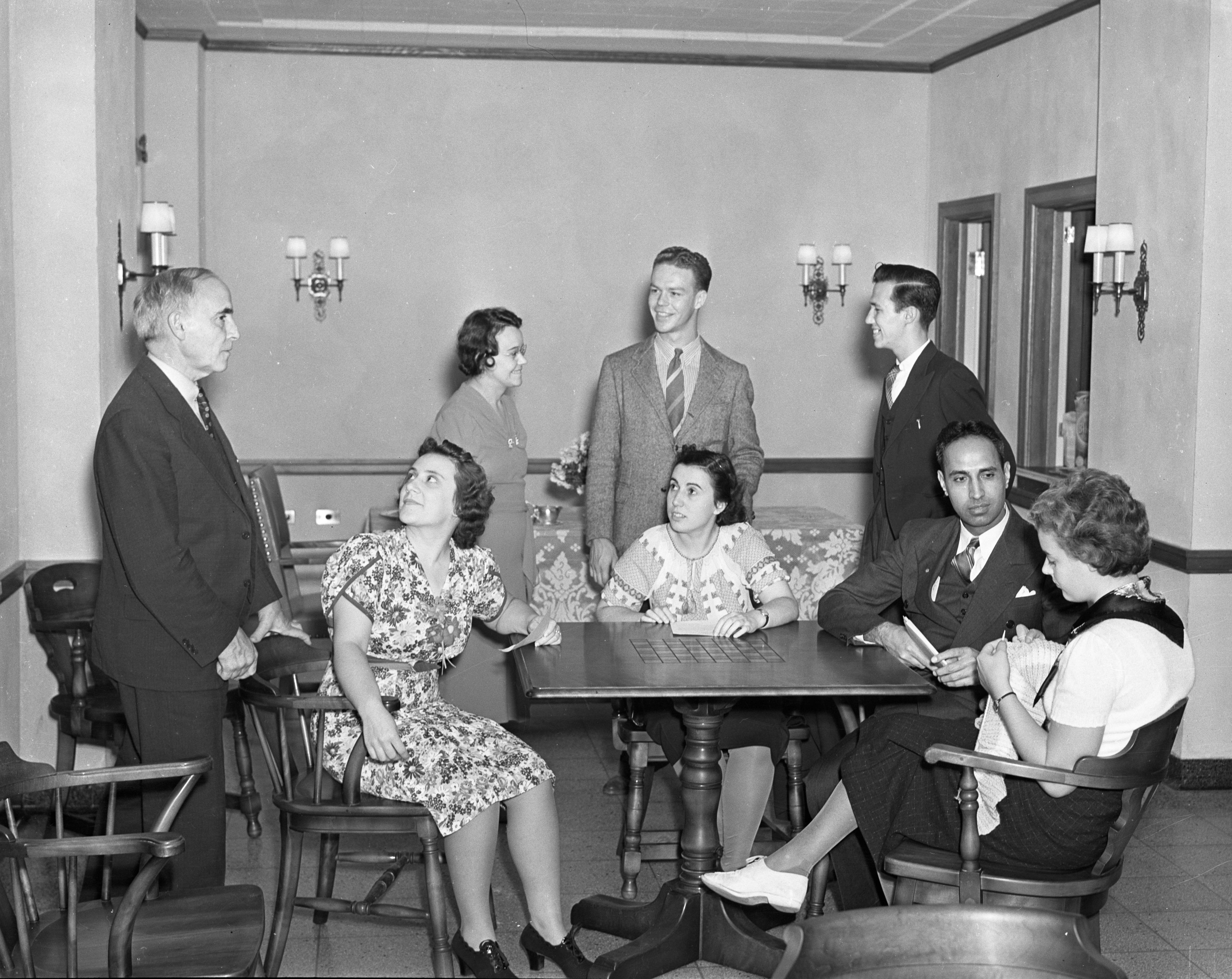 Students with Director J. Raleigh Nelson at the University of Michigan International Center, 1938 image