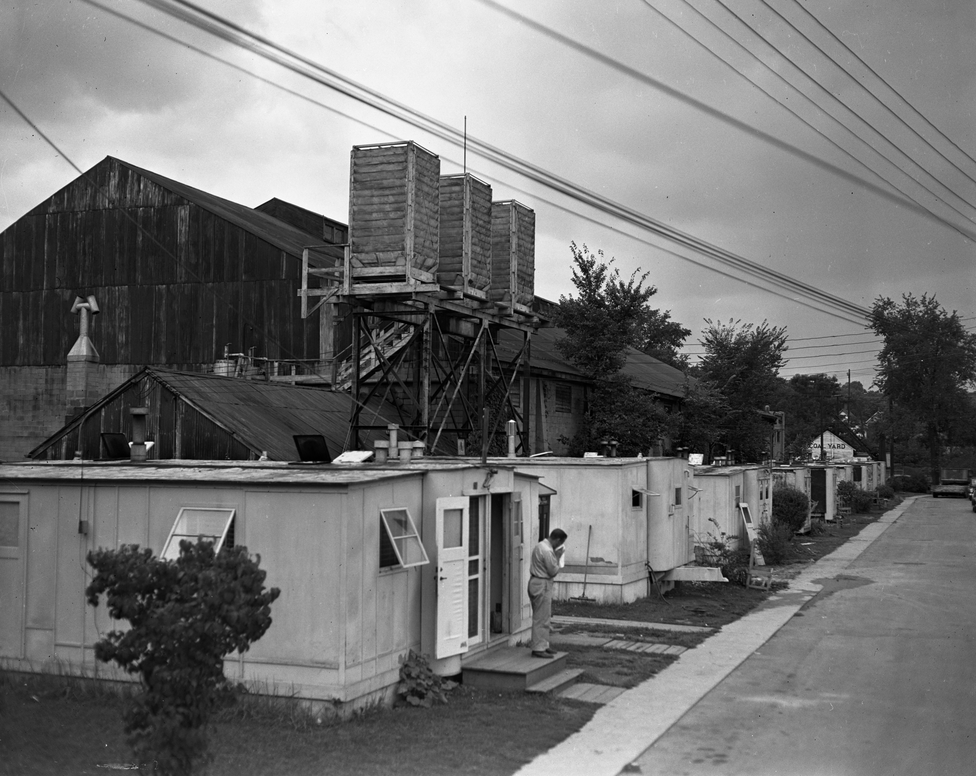 Several dwelling units in the University of Michigan's Veterans Village near the Coliseum, August 1949 image