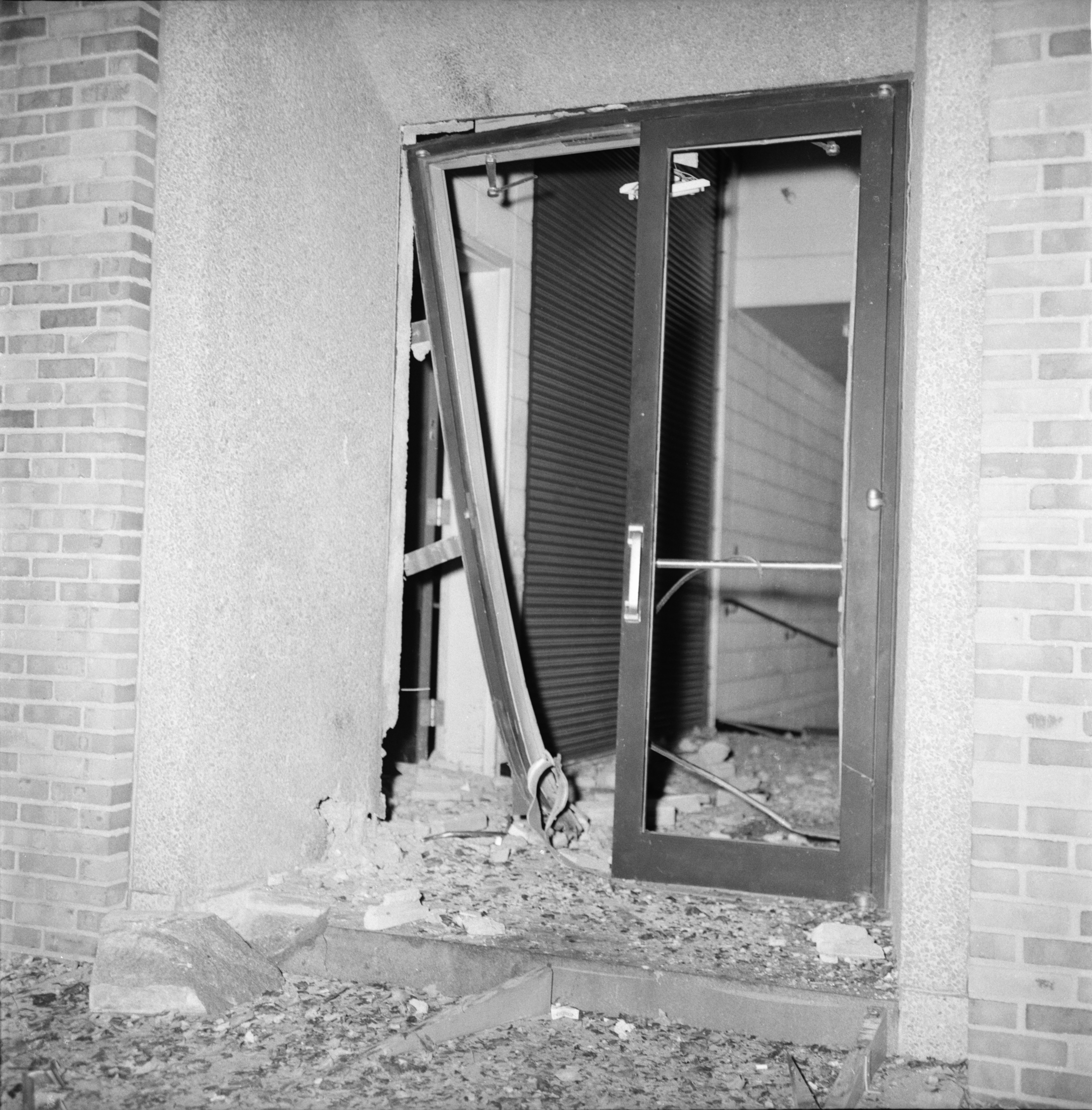 Door Blown Out by Bomb Blast at Institute of Science and Technology, University of Michigan image