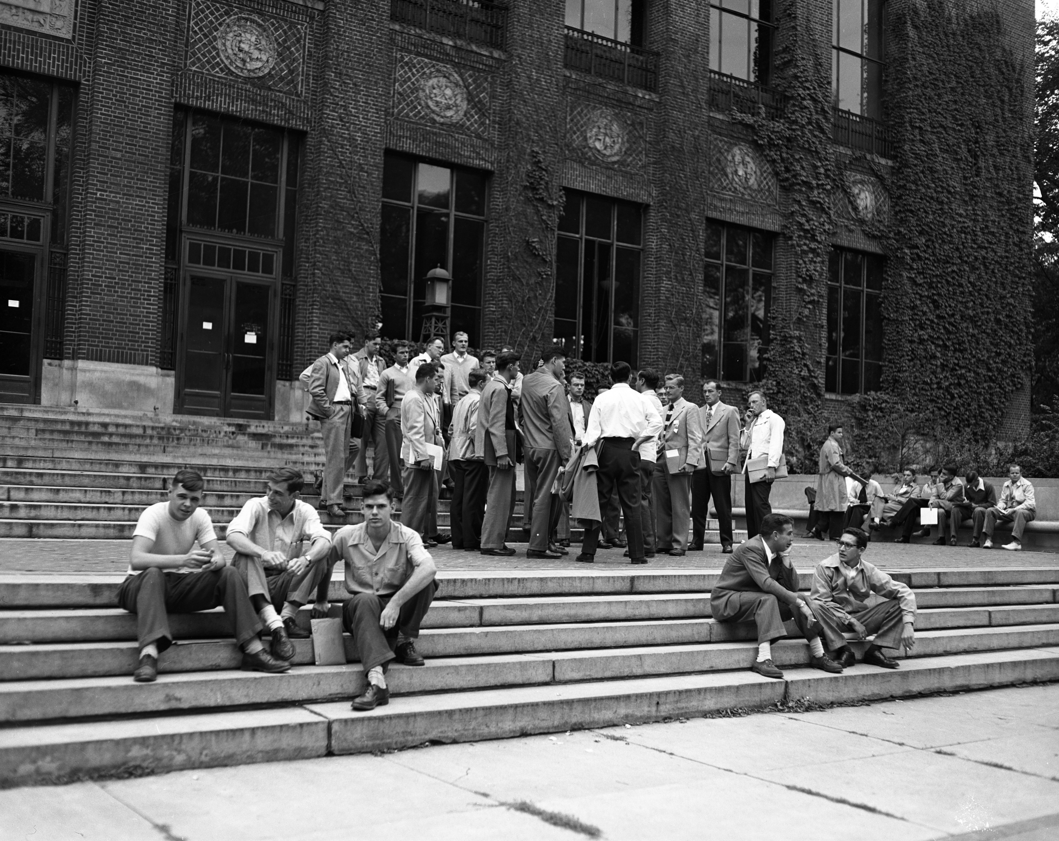 University of Michigan students on Graduate Library steps, October 1948 image