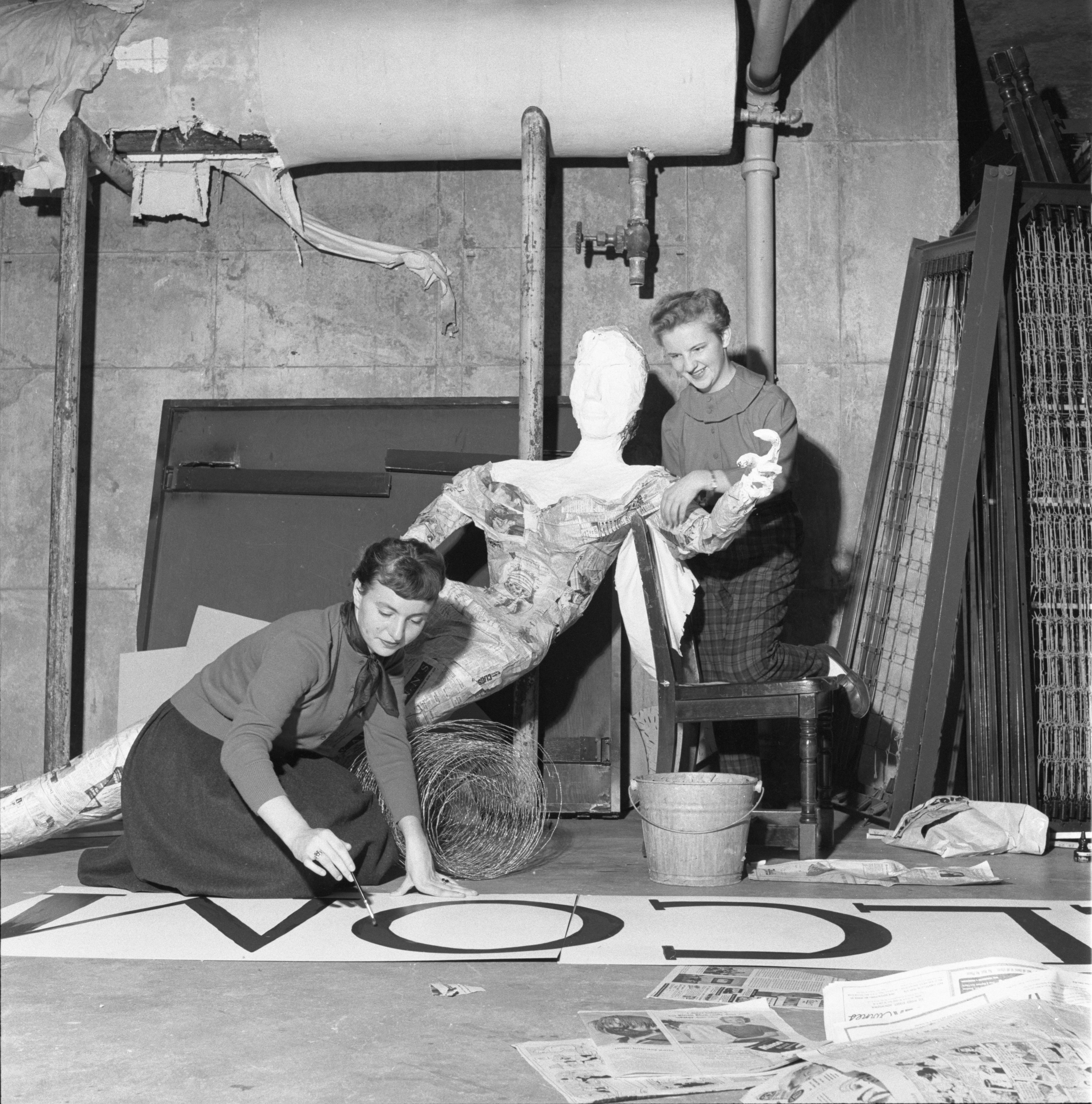 Residents Of Victor Vaughan Residence Hall Construct Their Homecoming Display, October 1955 image