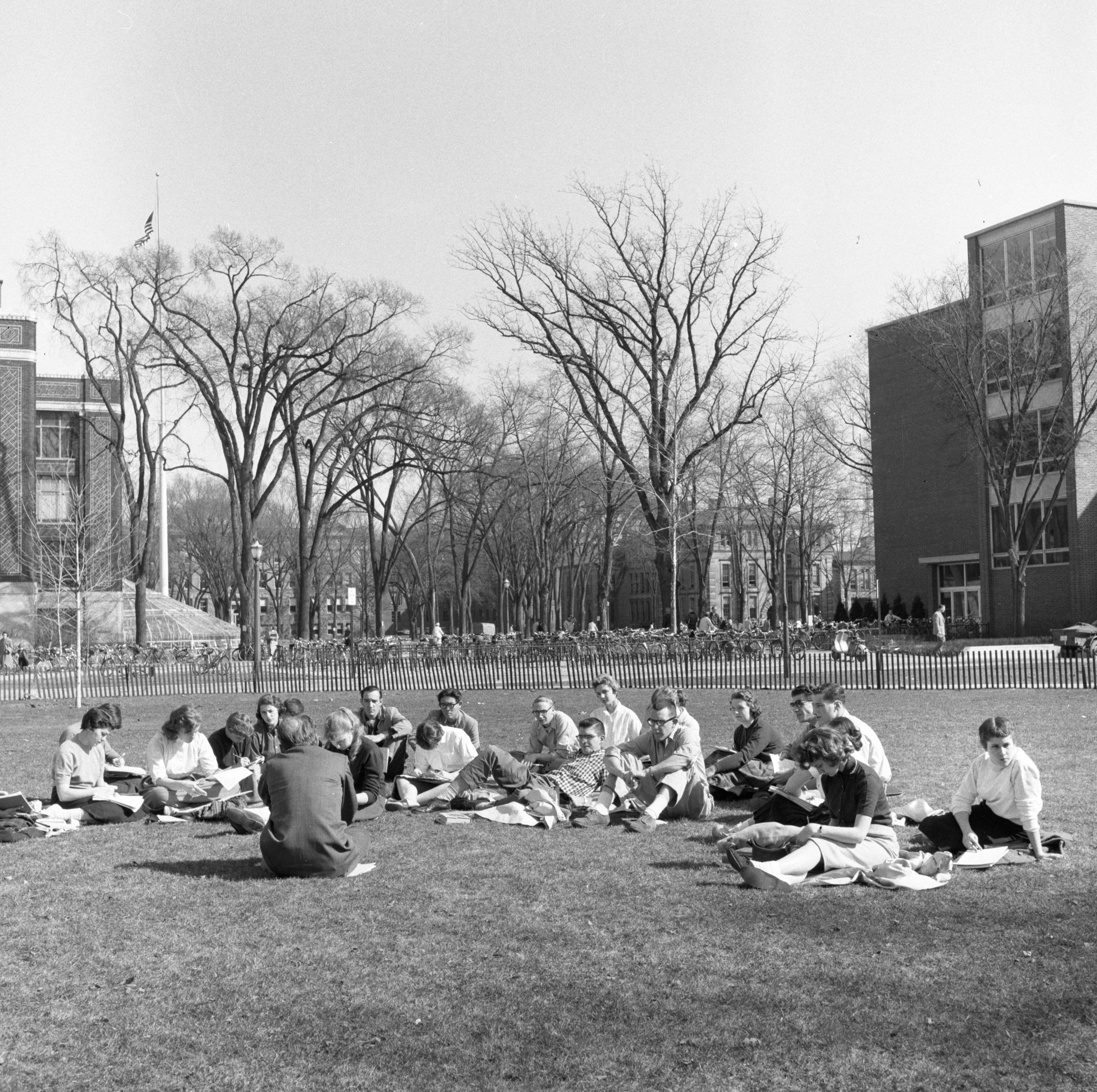 University of Michigan Class Outside On The Diag, March 1957 image