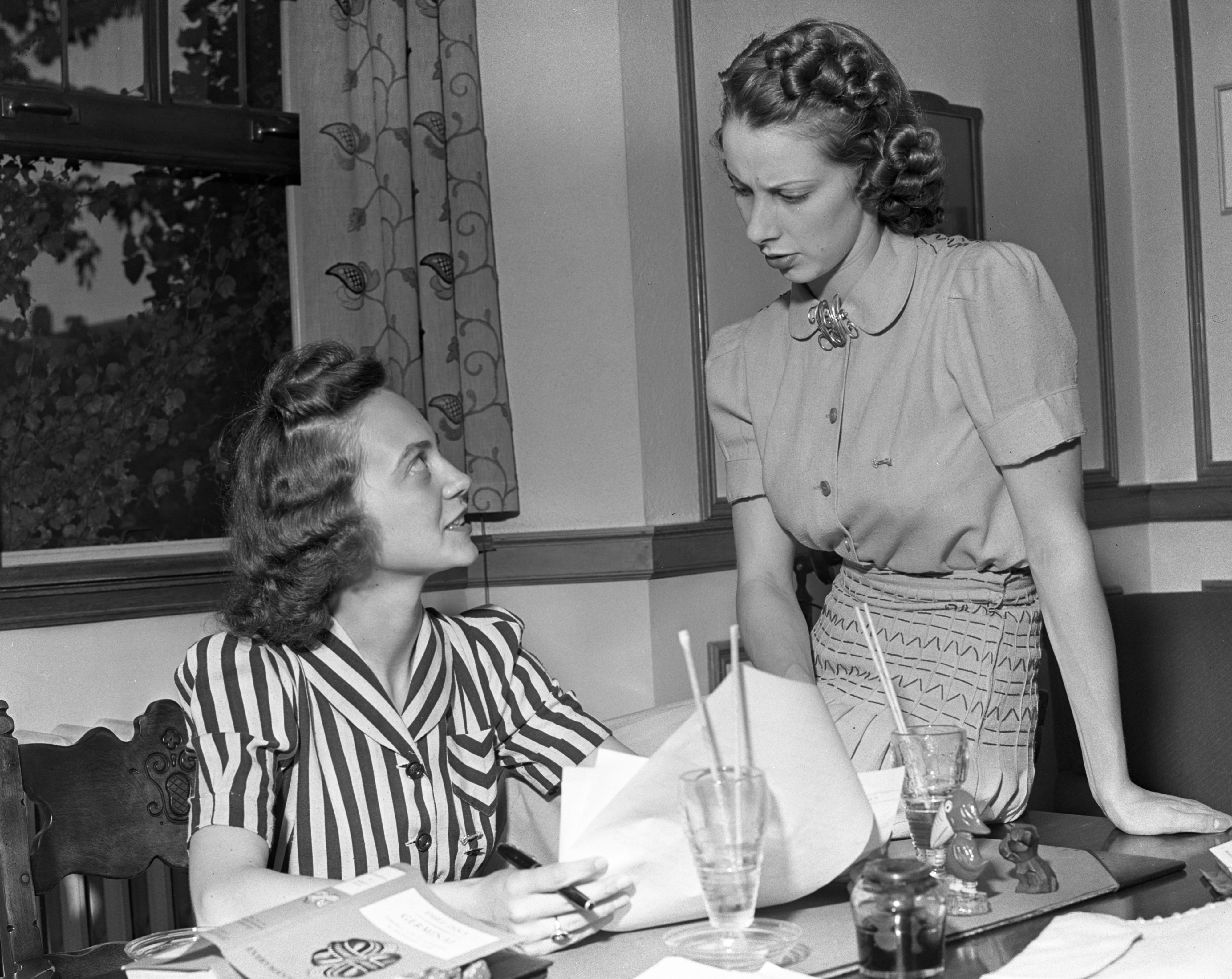 U-M Students Beth O'Rourke and Virginia Osgood at the Michigan League, June 1939 image
