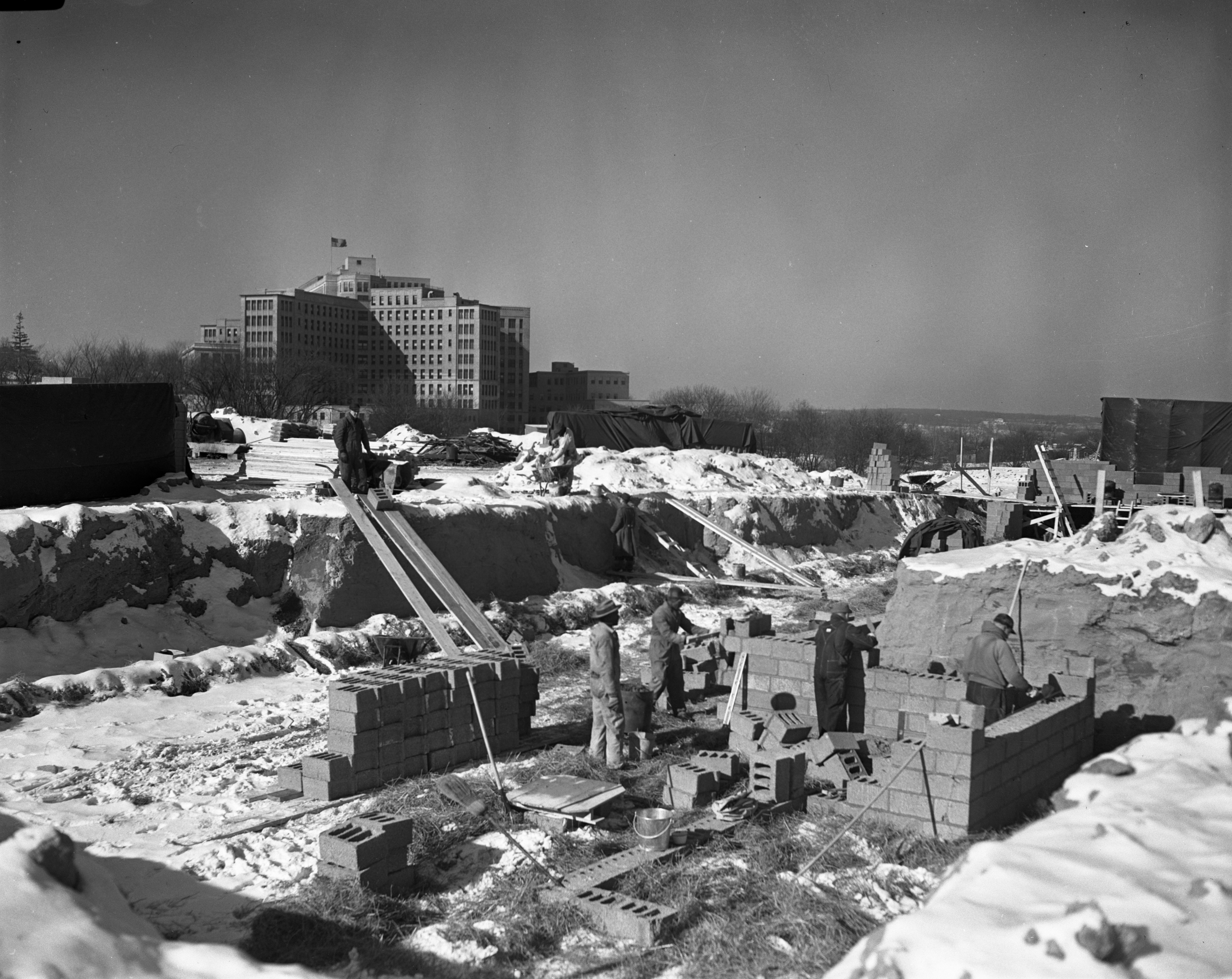 Construction of married veteran apartment building at the University of Michigan, January 1946 image