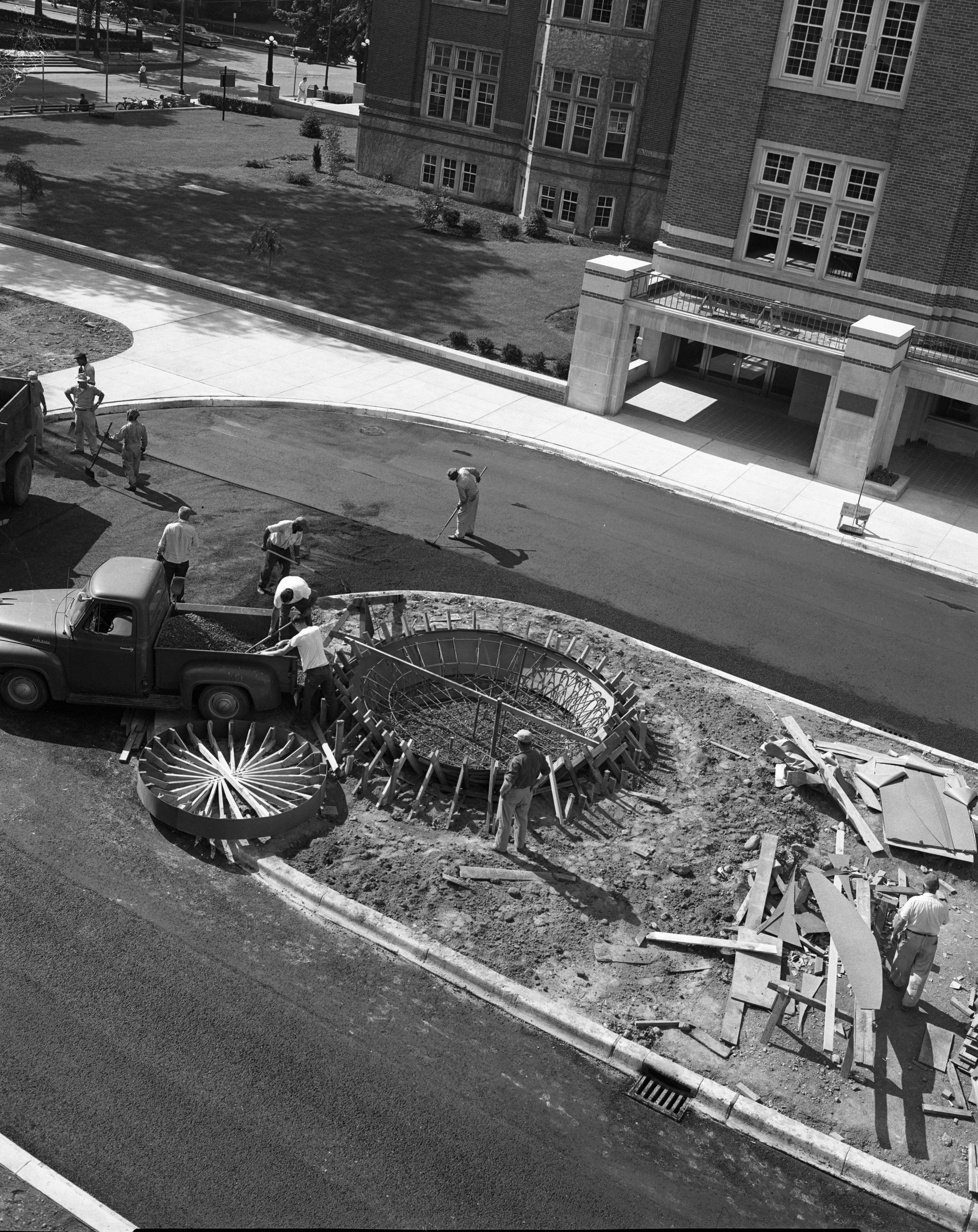 Michigan Union gets a fountain representing the atomic age, June 1956 image