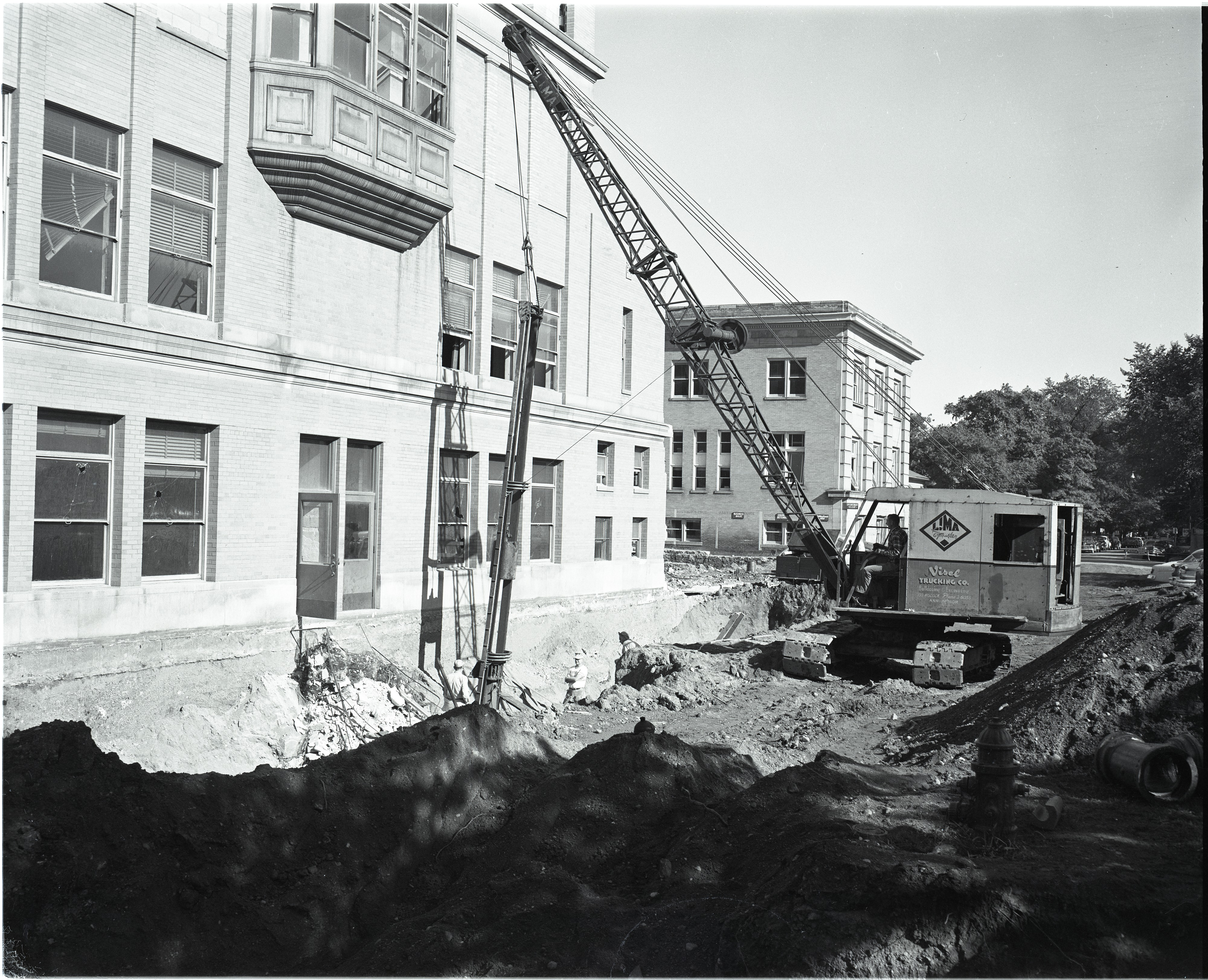 Digging Tunnel in Rear of University of Michigan Frieze Hall, August 1956 image