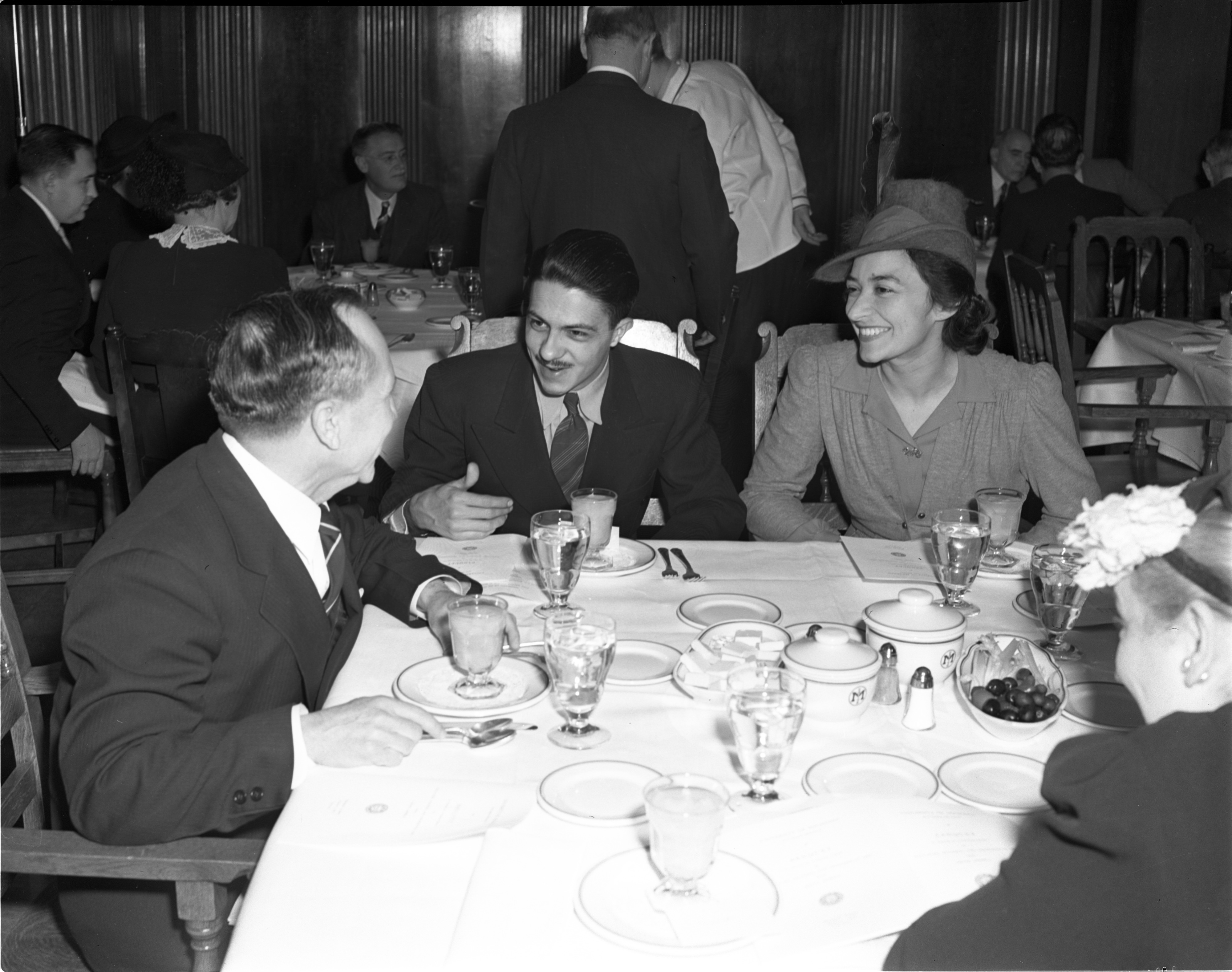 UM Professor, Julio del Toro, Far Left, Talks To Students From South America At The Michigan Union, 1941 image