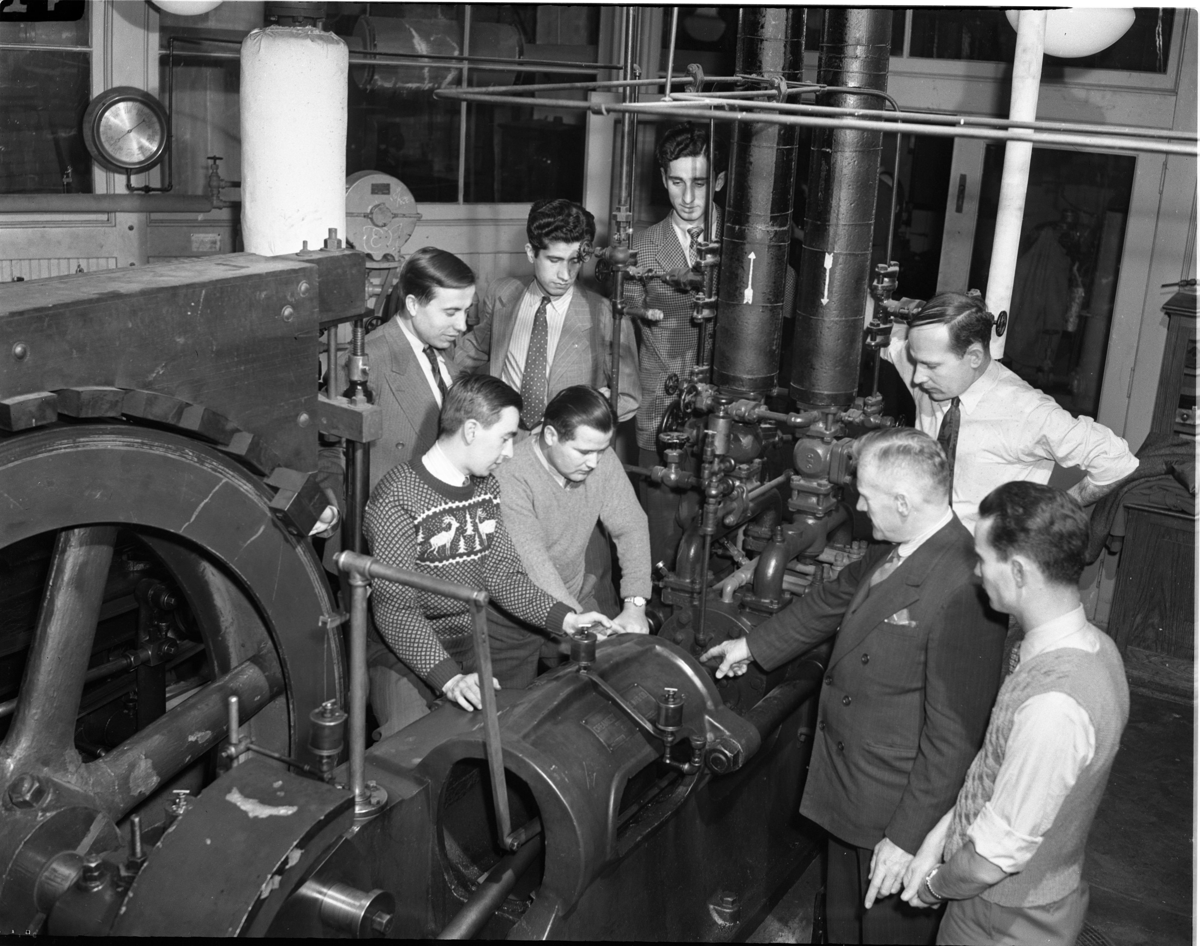 UM Students From Turkey In Engineering Class, December 1943 image
