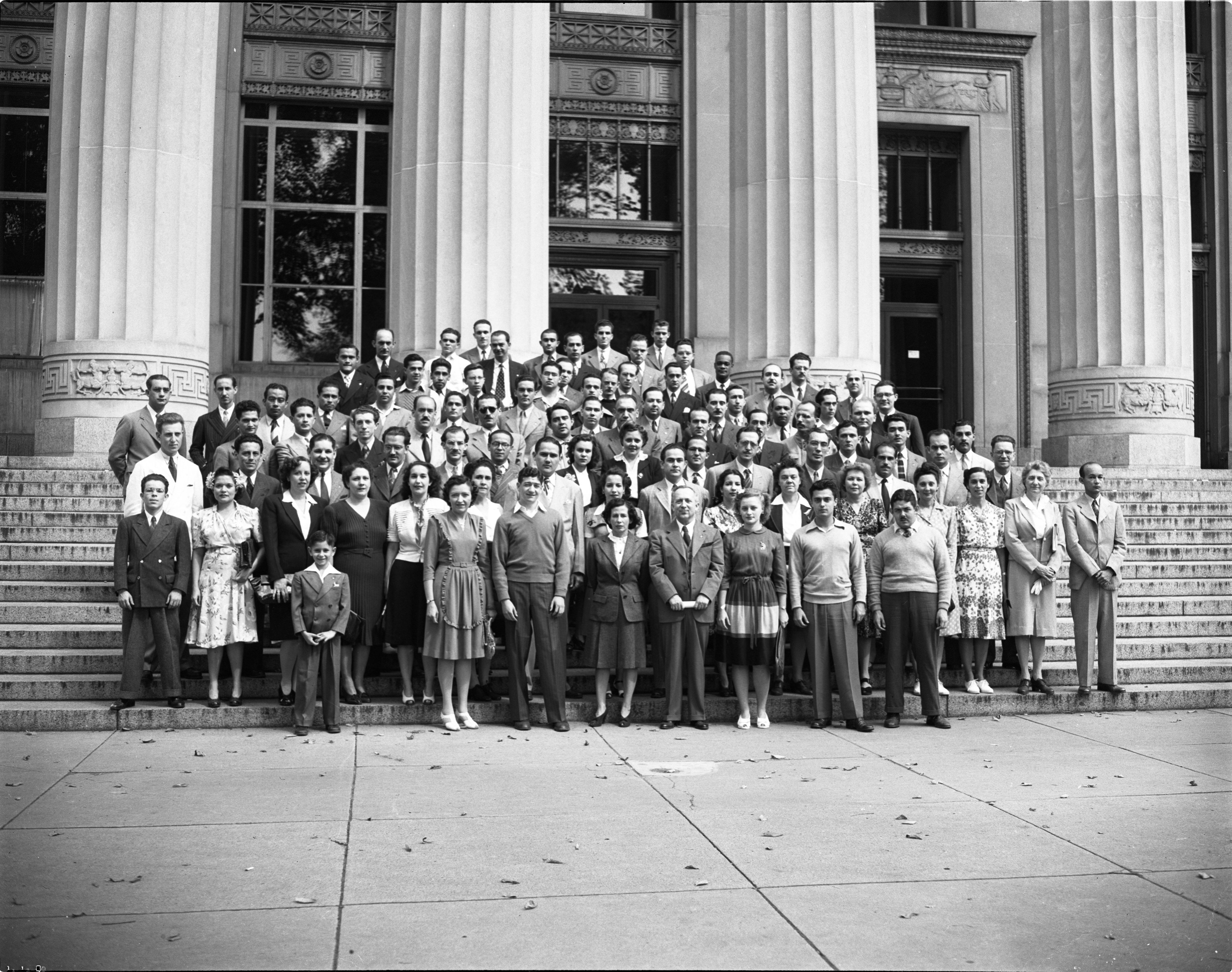 South American Visitors To U-M Pose On Steps Of Angell Hall, August 1944 image
