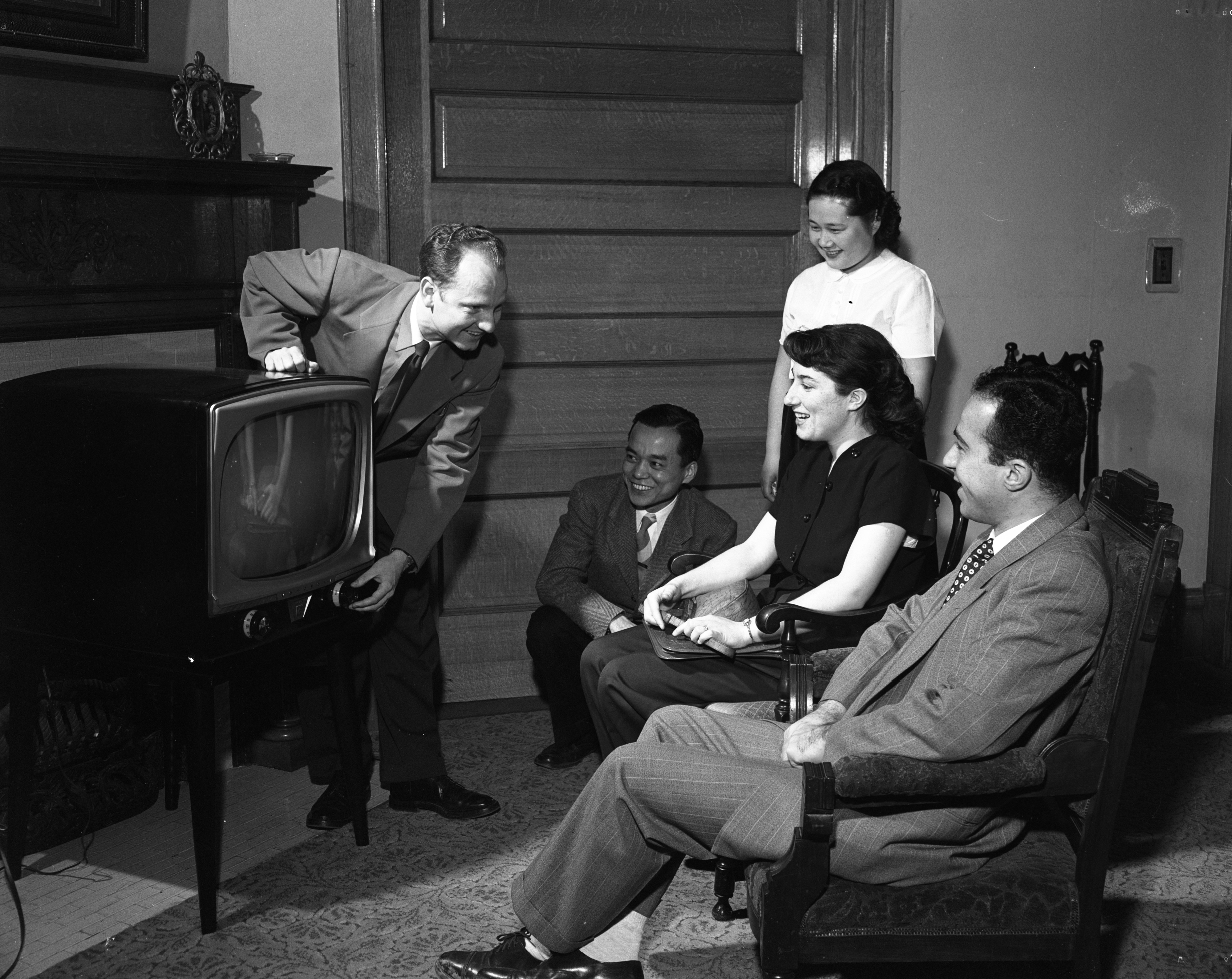Students At UM's Pound House Receive New TV, February 1953 image