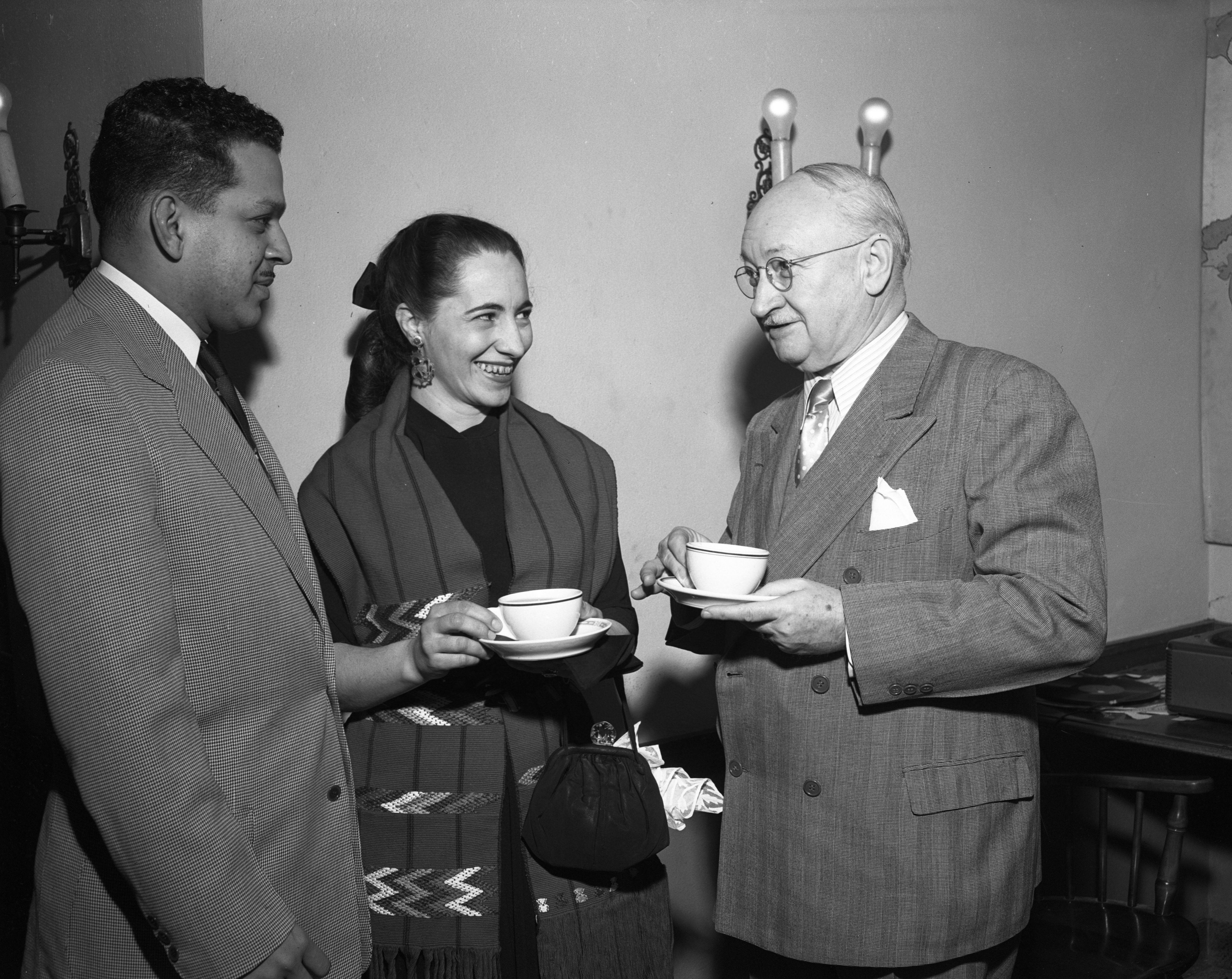 International Center Weekly Tea Event With Speaker, Prof. Margarita Mills (Center), January 30, 1953 image