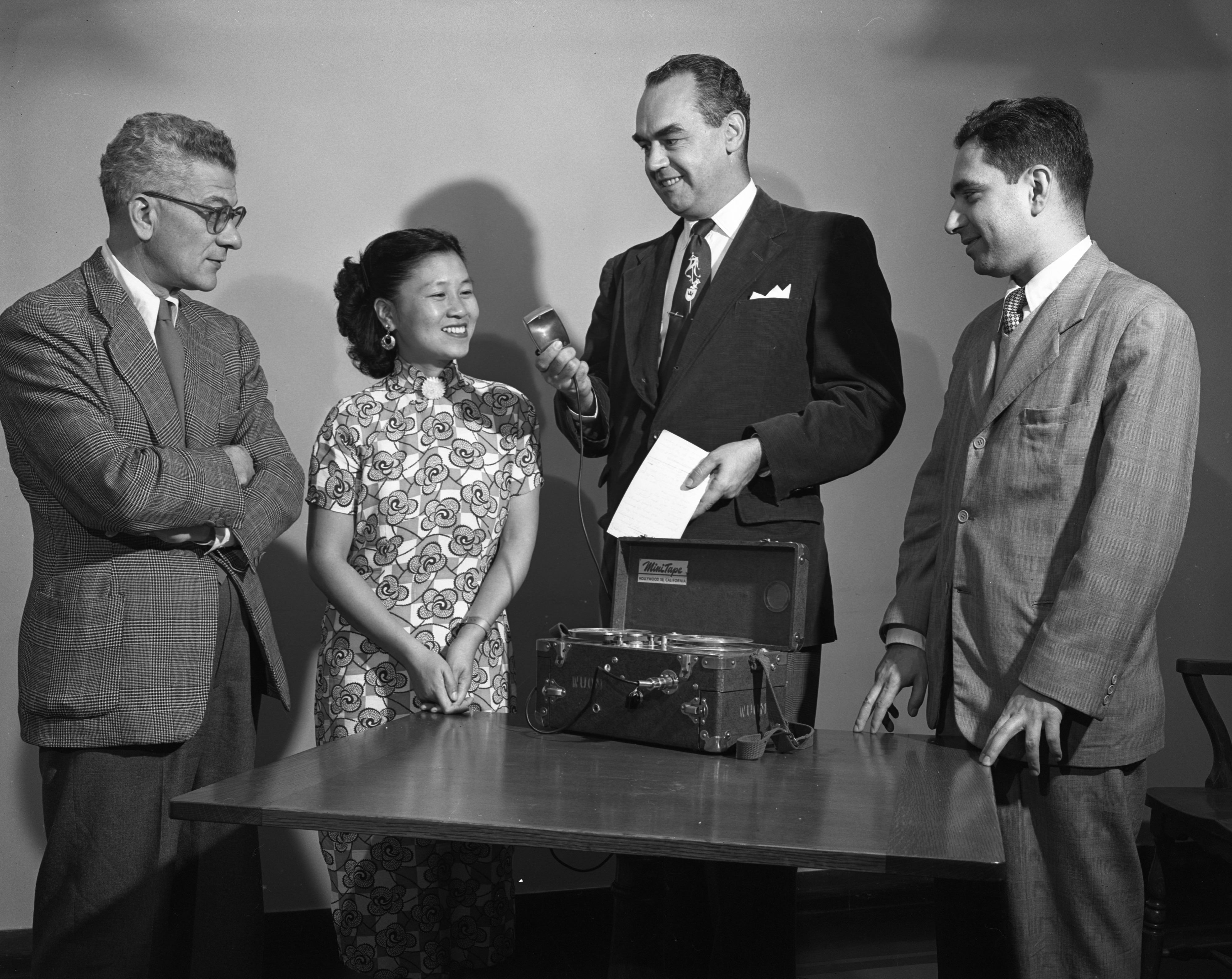 UM Teachers Of English Learn How To Make Tape Recordings For WUOM, October 29, 1953 image