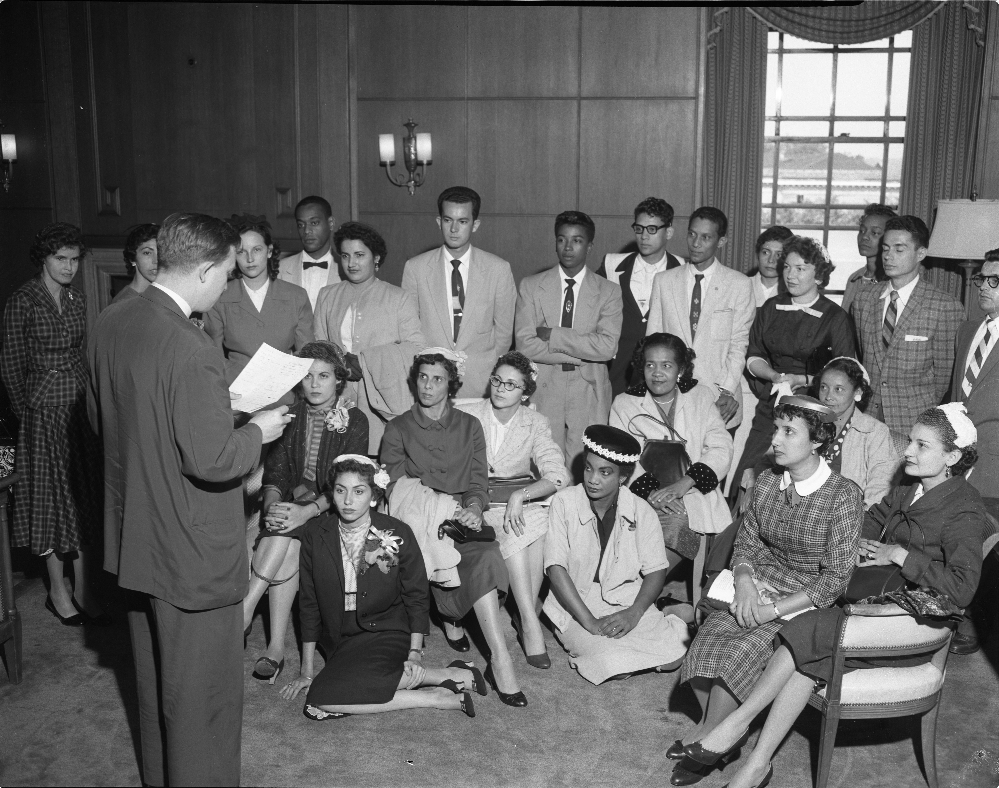 Teachers From Puerto Rico Studying English At UM Meet At Rackham, September 12, 1956 image