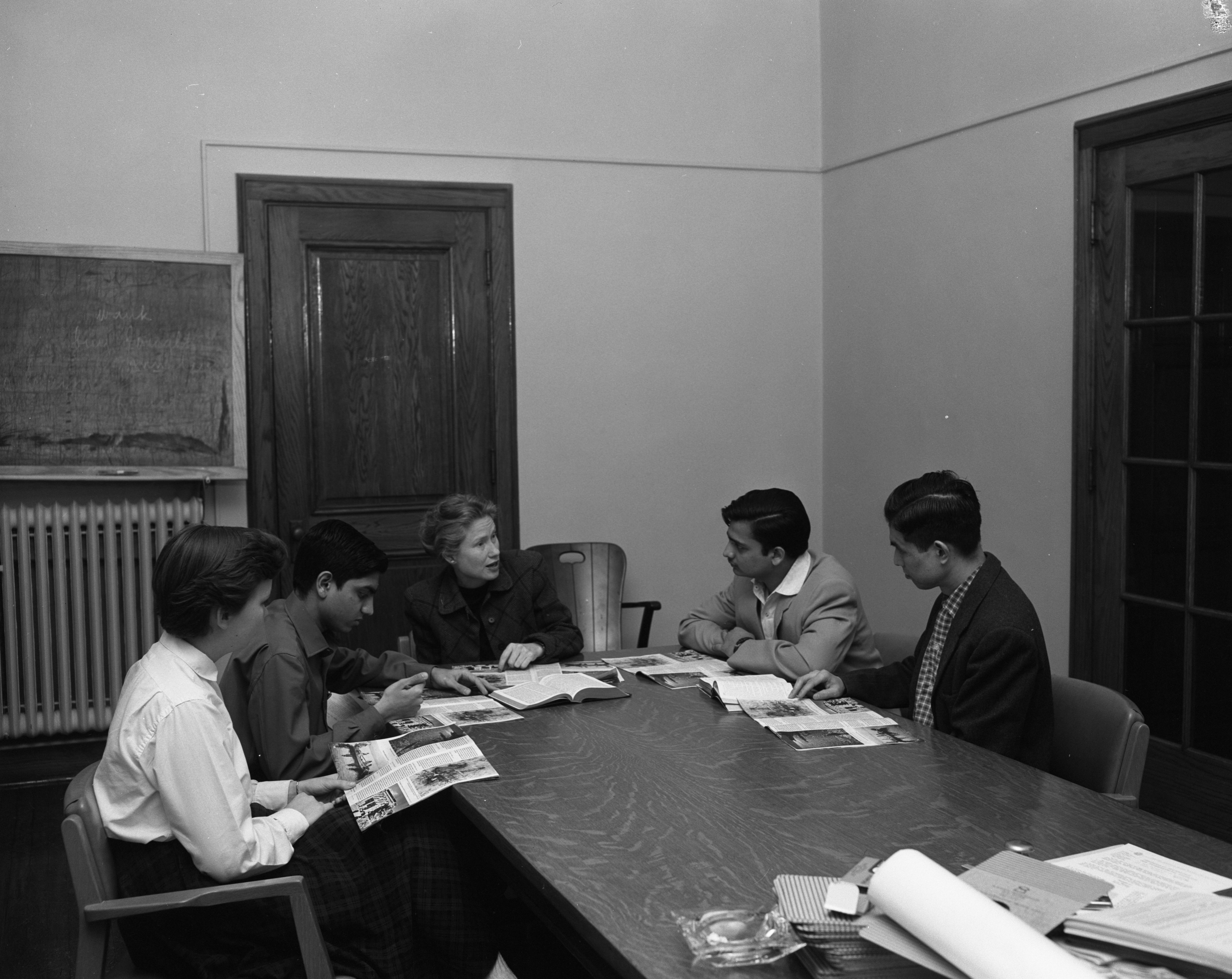 Amber Van Teaches UM International Students About The Bible At Lane Hall, May 2, 1958 image