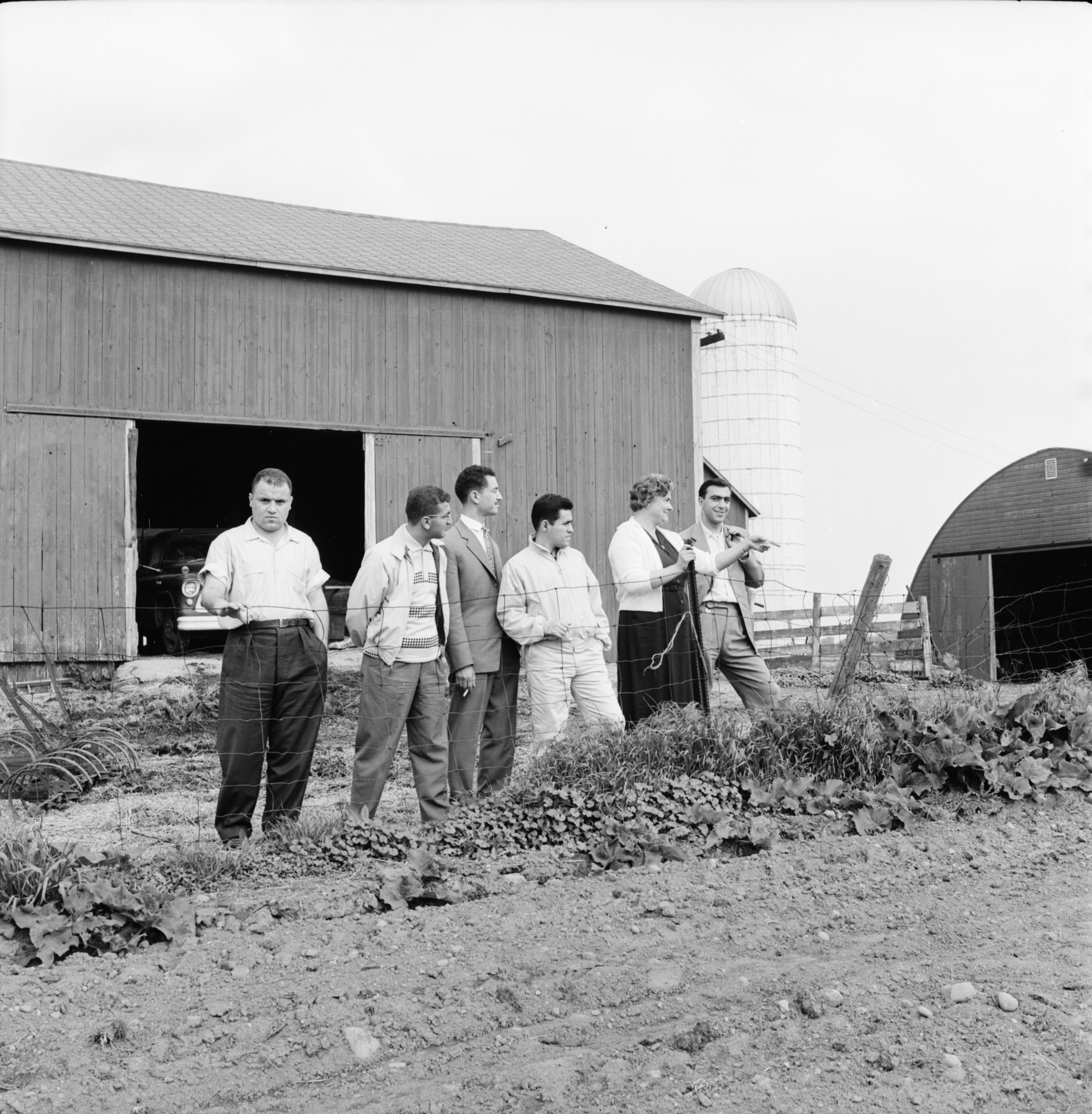 Five Foreign Exchange Students Visit the Tefft Farm, June 1960 image