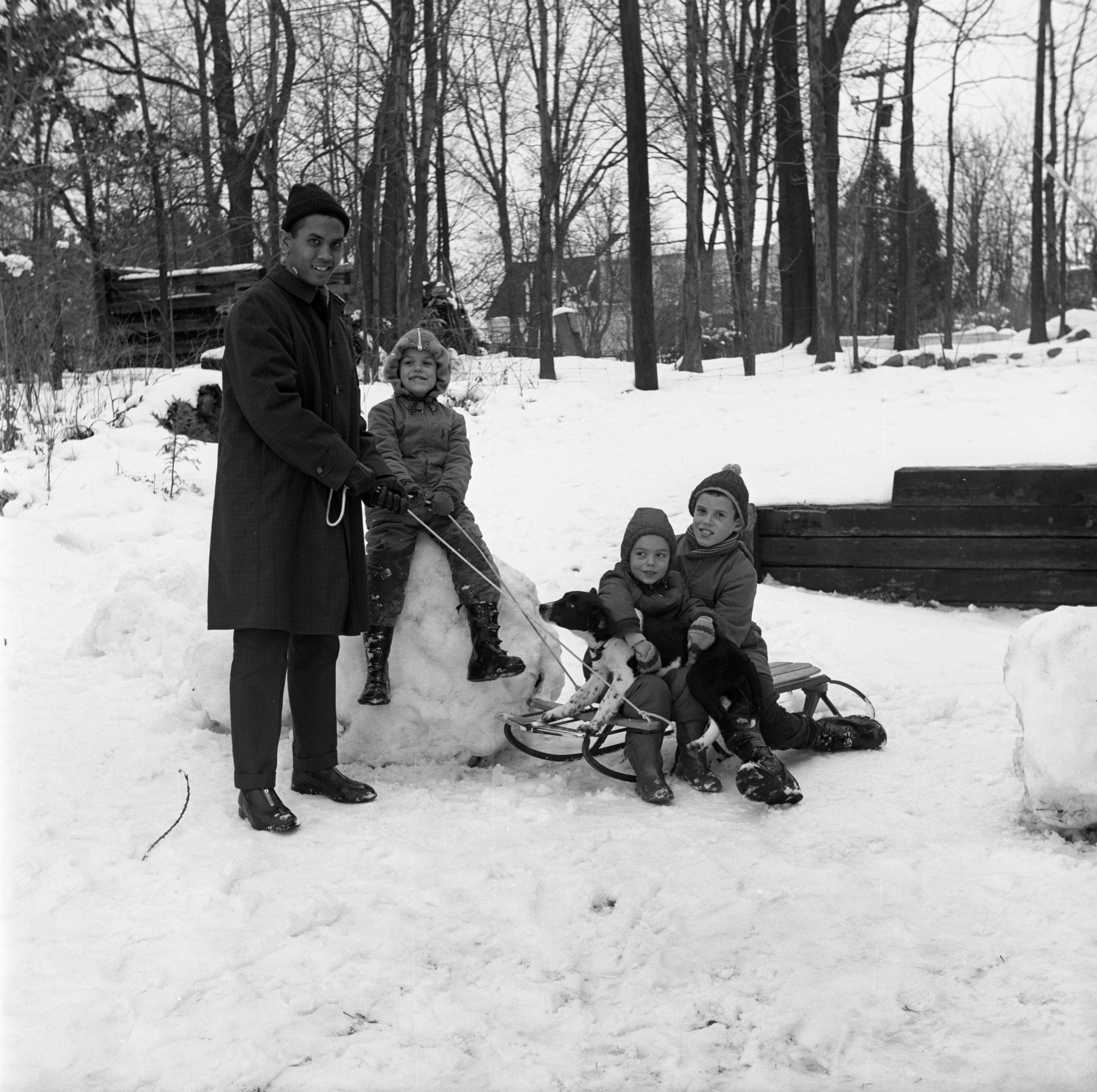 Sri Hardjoko Wirjomartono, UM Student From Java, With Children Of Wilfred Kincaid Enjoying The Snow, December 18, 1962 image
