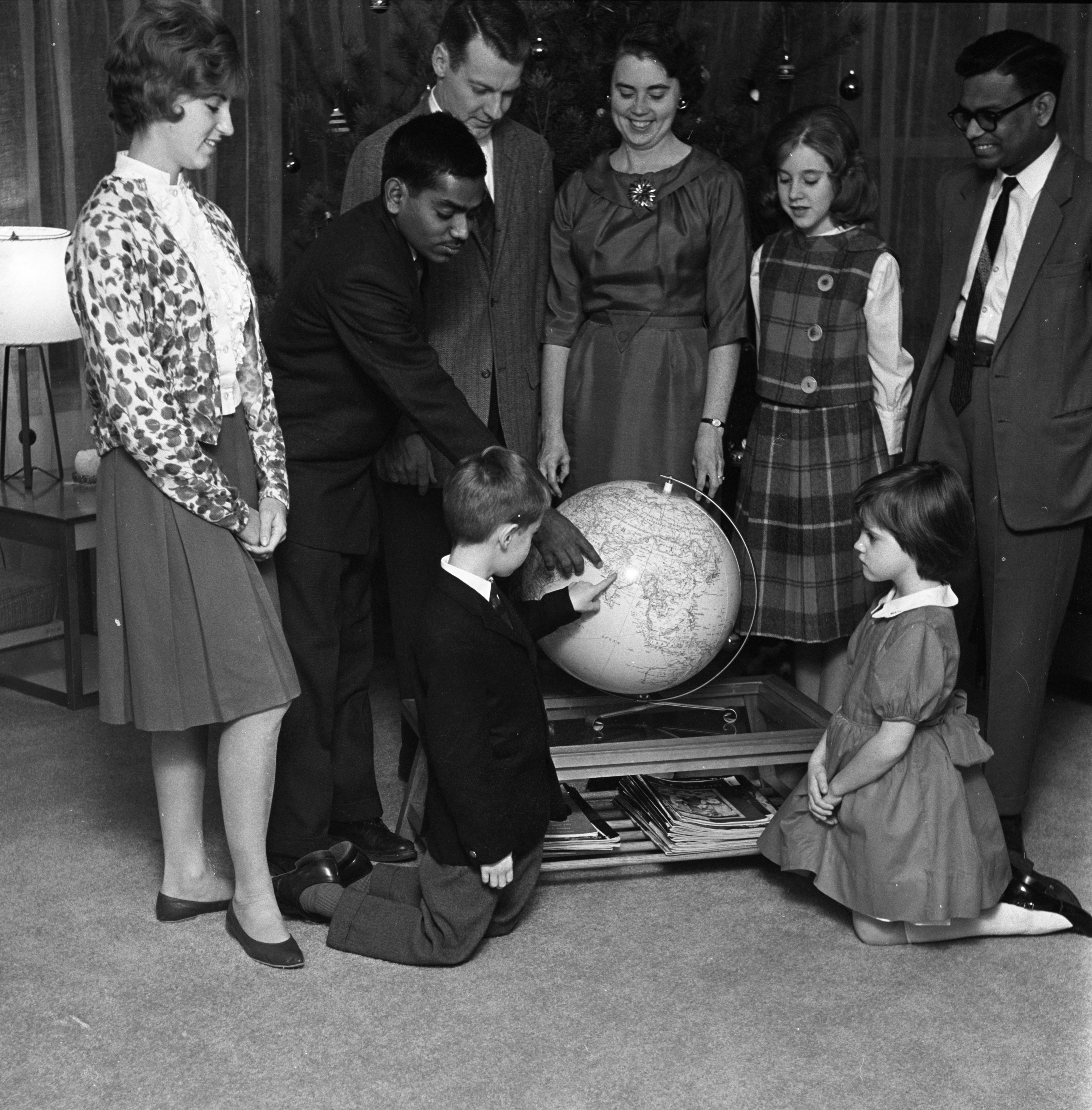 Dr. & Mrs. Gingles & Family Host UM Students From India, December 18, 1962 image