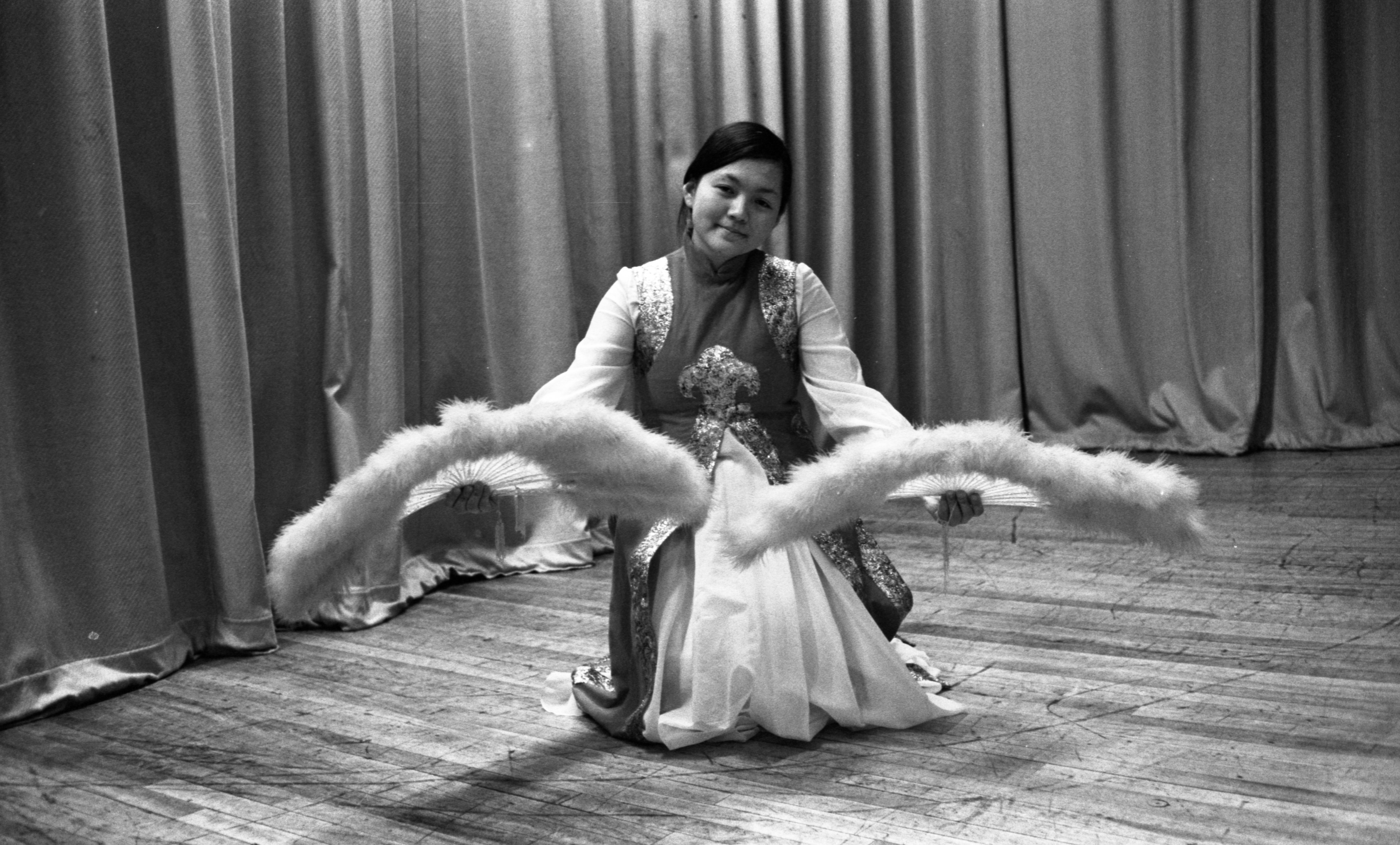 Elizabeth Lee Practices A Fan Dance For UM's World's Fair, March 29, 1974 image