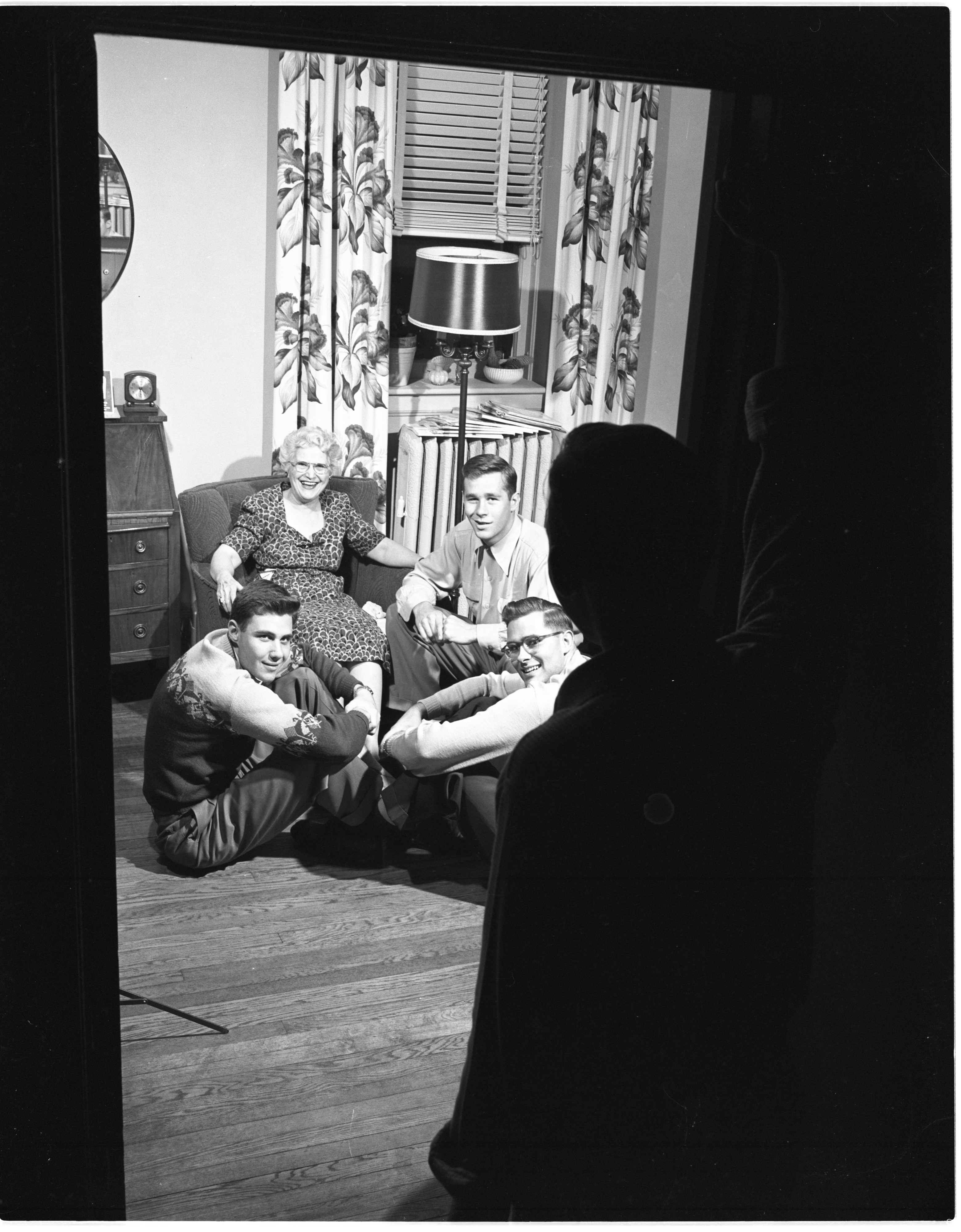 Sigma Phi Epsilon Fraternity Members Chat With House Mother Leila Vibert, May 1952 image