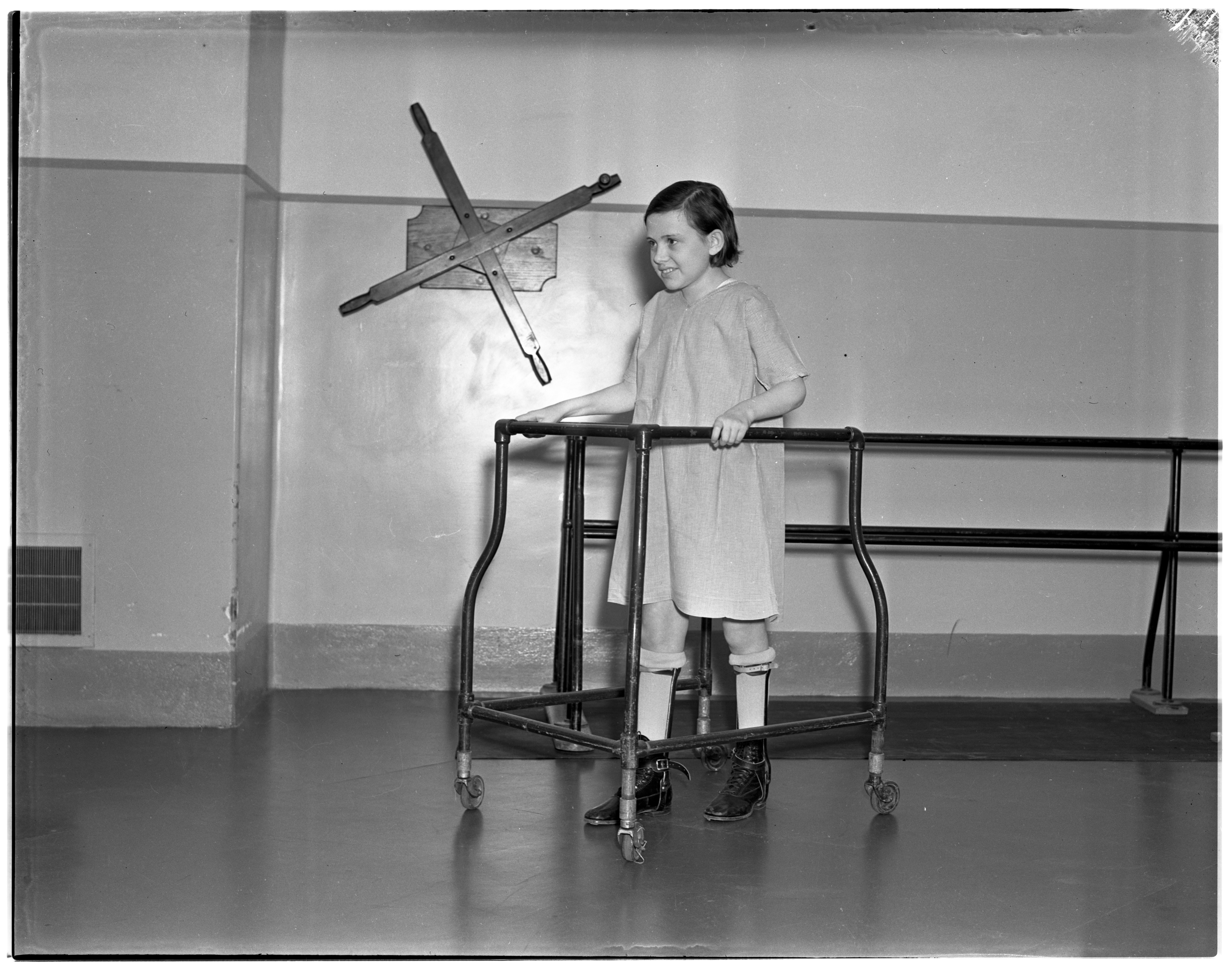 Polio Patient Exercises at University Hospital Physical Therapy Center, January 1938 image
