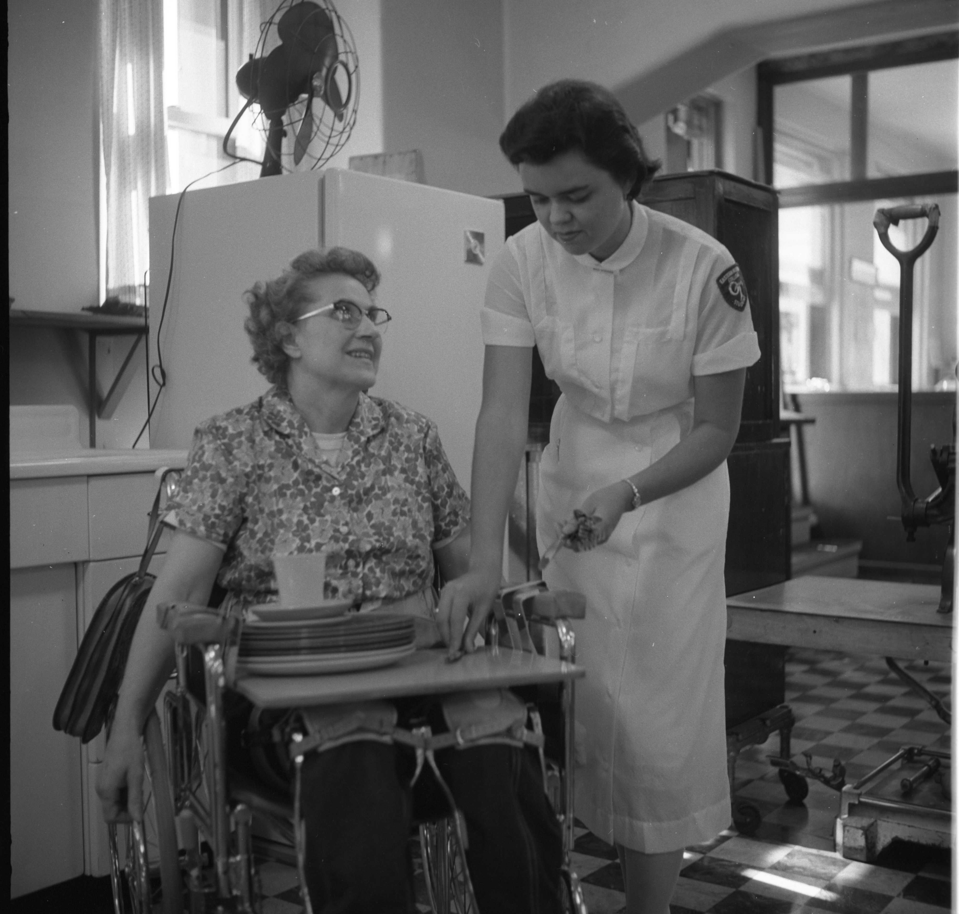 Handicapped Homemaker Olive Stone Learns Adaptive Housekeeping Skills at University Hospital, September 1958 image