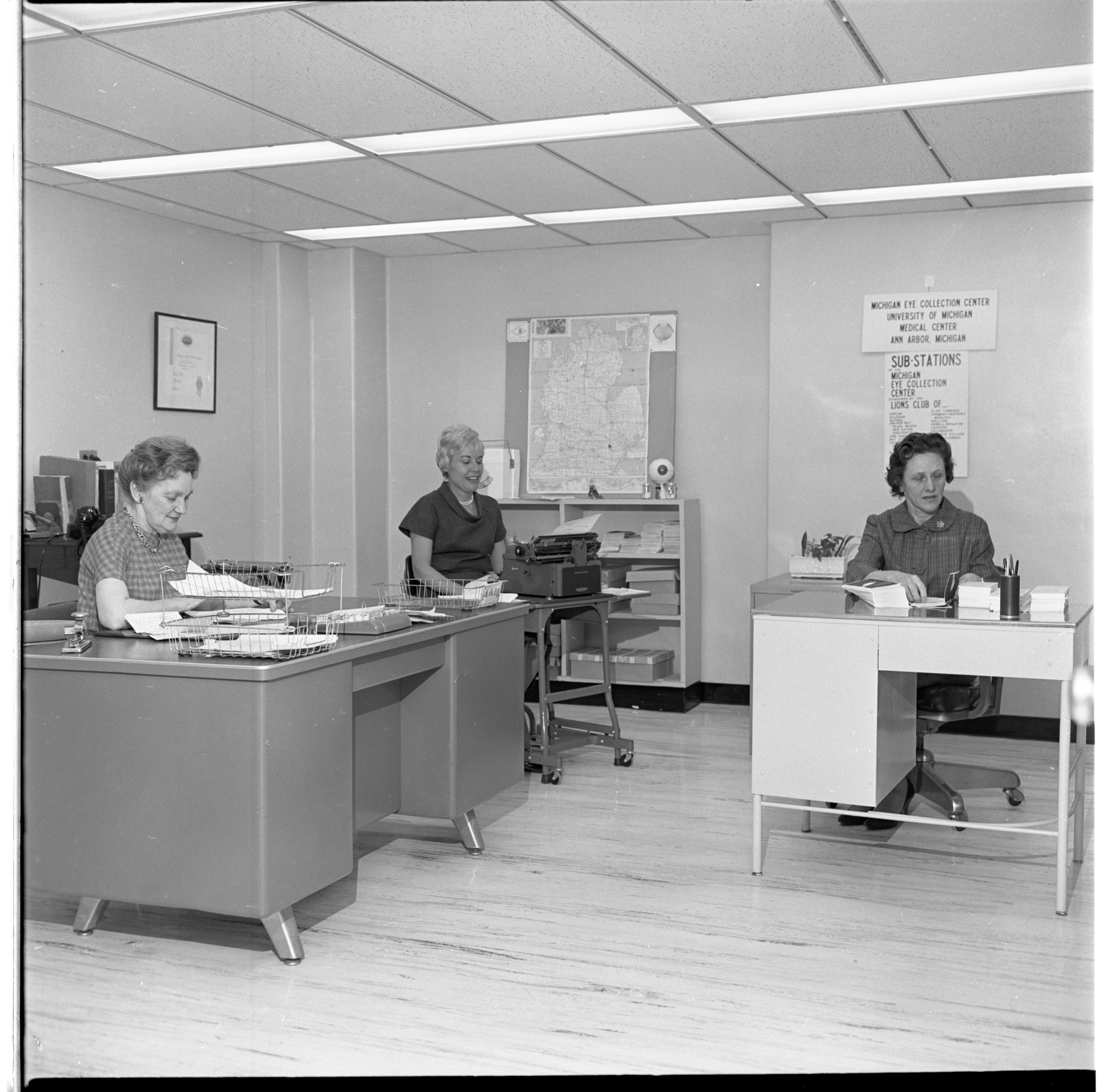 Mary Hubbell, Frances Staffan, & Margaret Gillen, Work In The Michigan Eye Collection Center Office, March 1965 image