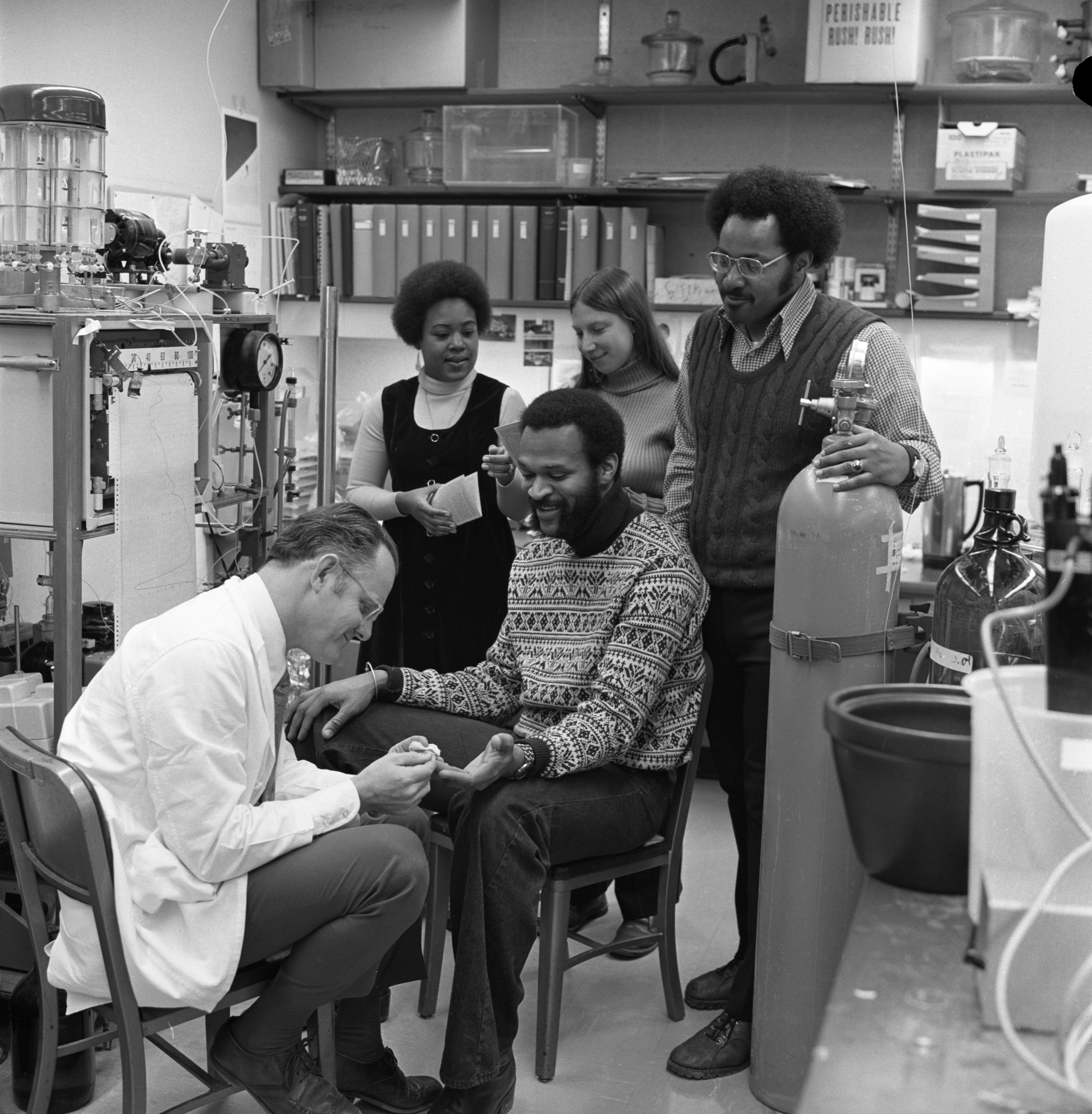Dr. Donald Rucknagel Tests Dennis Stewart For Sickle Cell Anemia, January 26, 1973 image