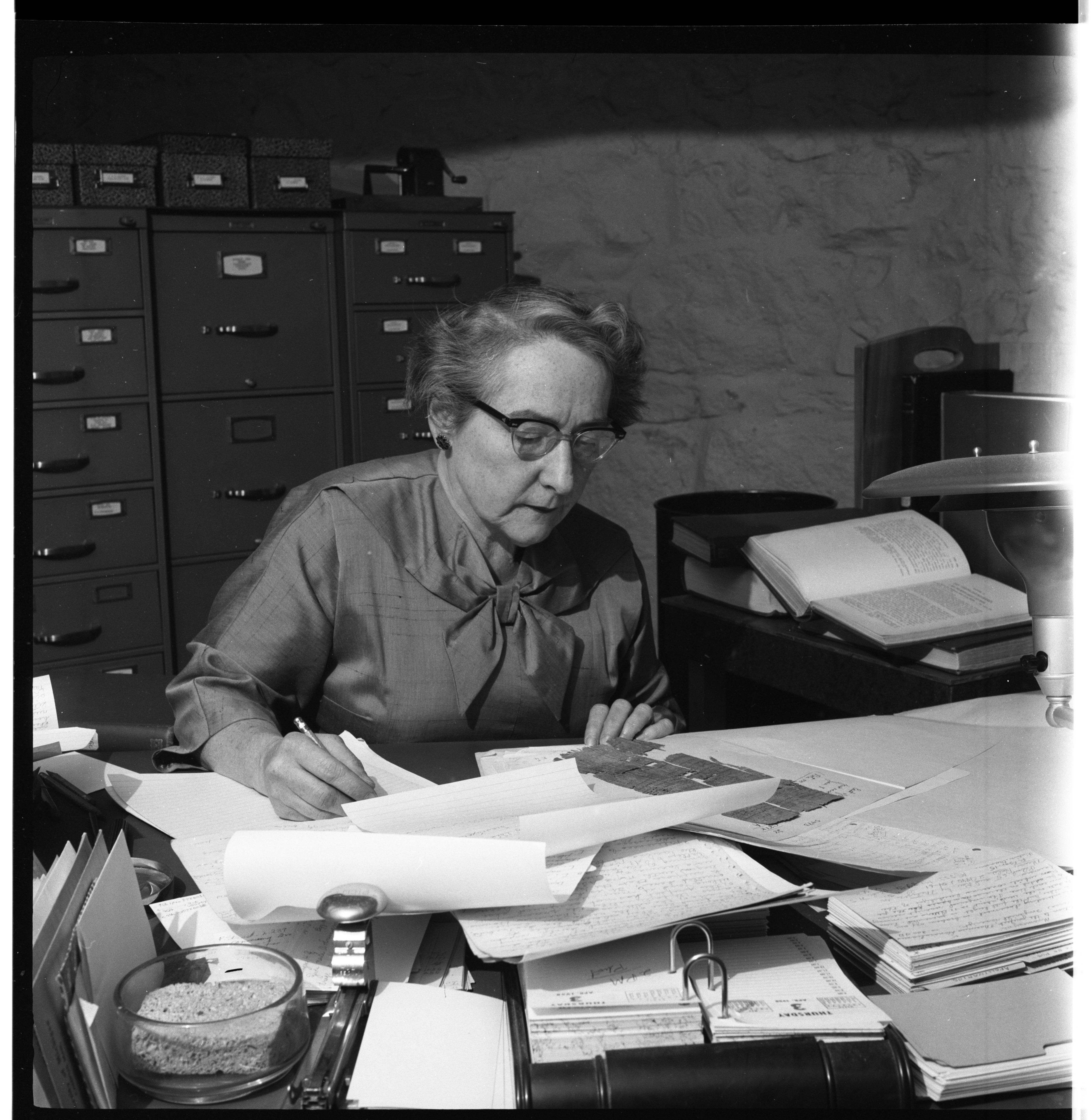 Elinor Mullett Husselman - Curator of the Kelsey Museum of Archaeology, April 1958 image