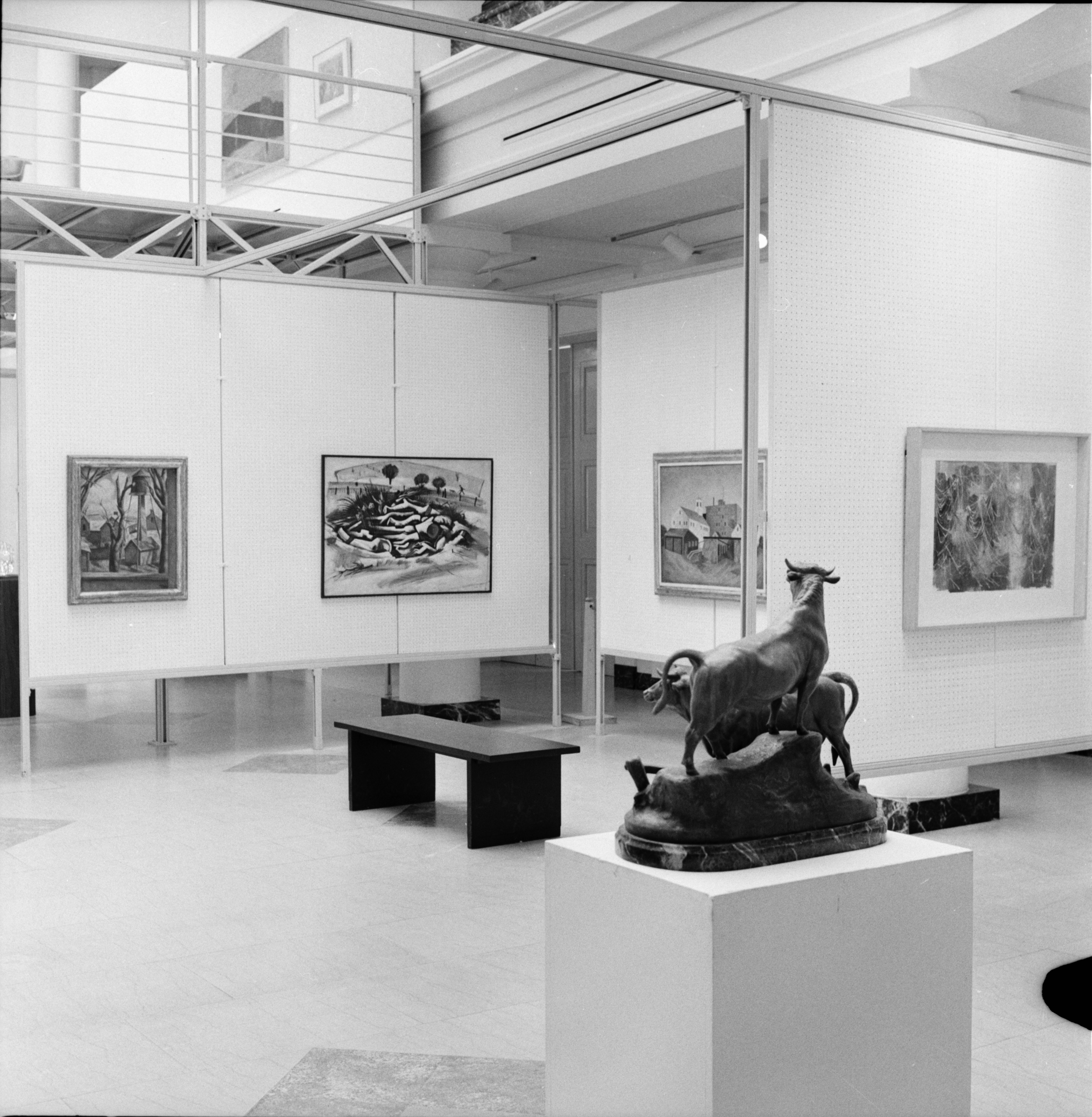 Exhibit of Brook's 'Nude On A Navajo Blanket' and McFall's 'Buildings With Water Tank' at the University of Michigan Art Museum, September 1972 image