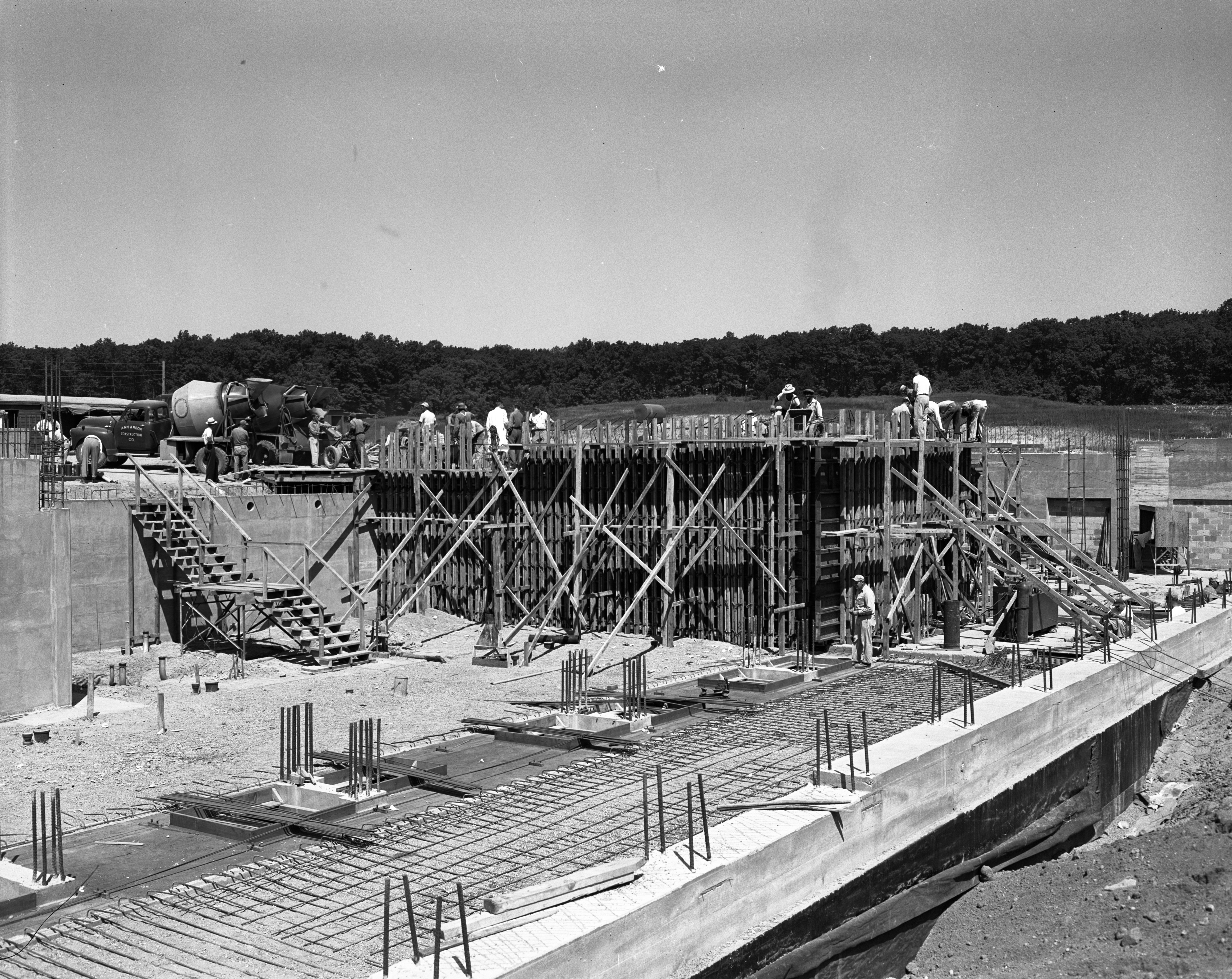 Extra-thick concrete poured for walls and floor of the Phoenix Memorial Building on North Campus, August 1954 image