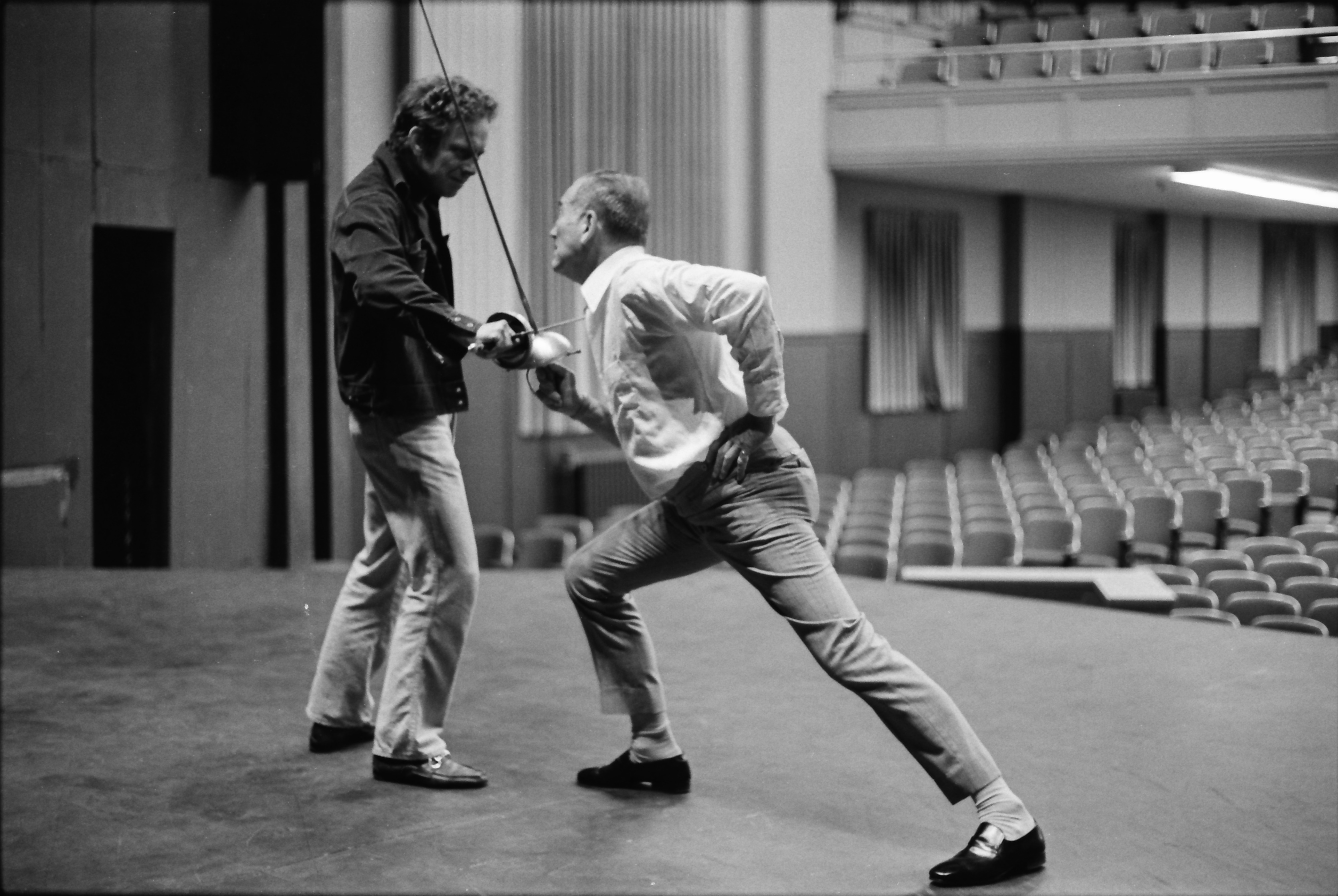 "Theatrical fight director Patrick ""Paddy"" Crean and Actor William Leach, September 1974 image"