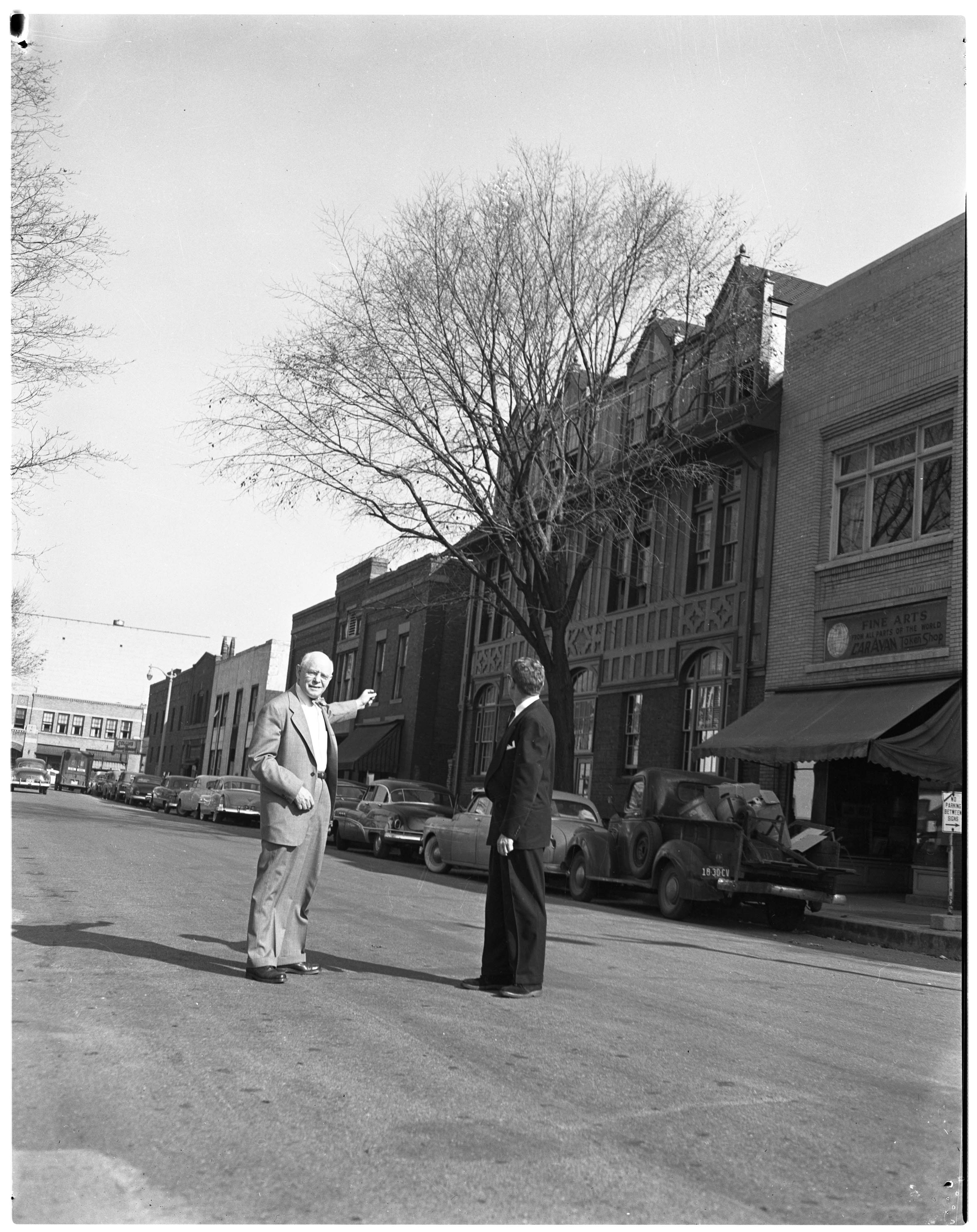 Earl V. Moore protests plan to cut down tree in front of UM Music School, October 1951 image
