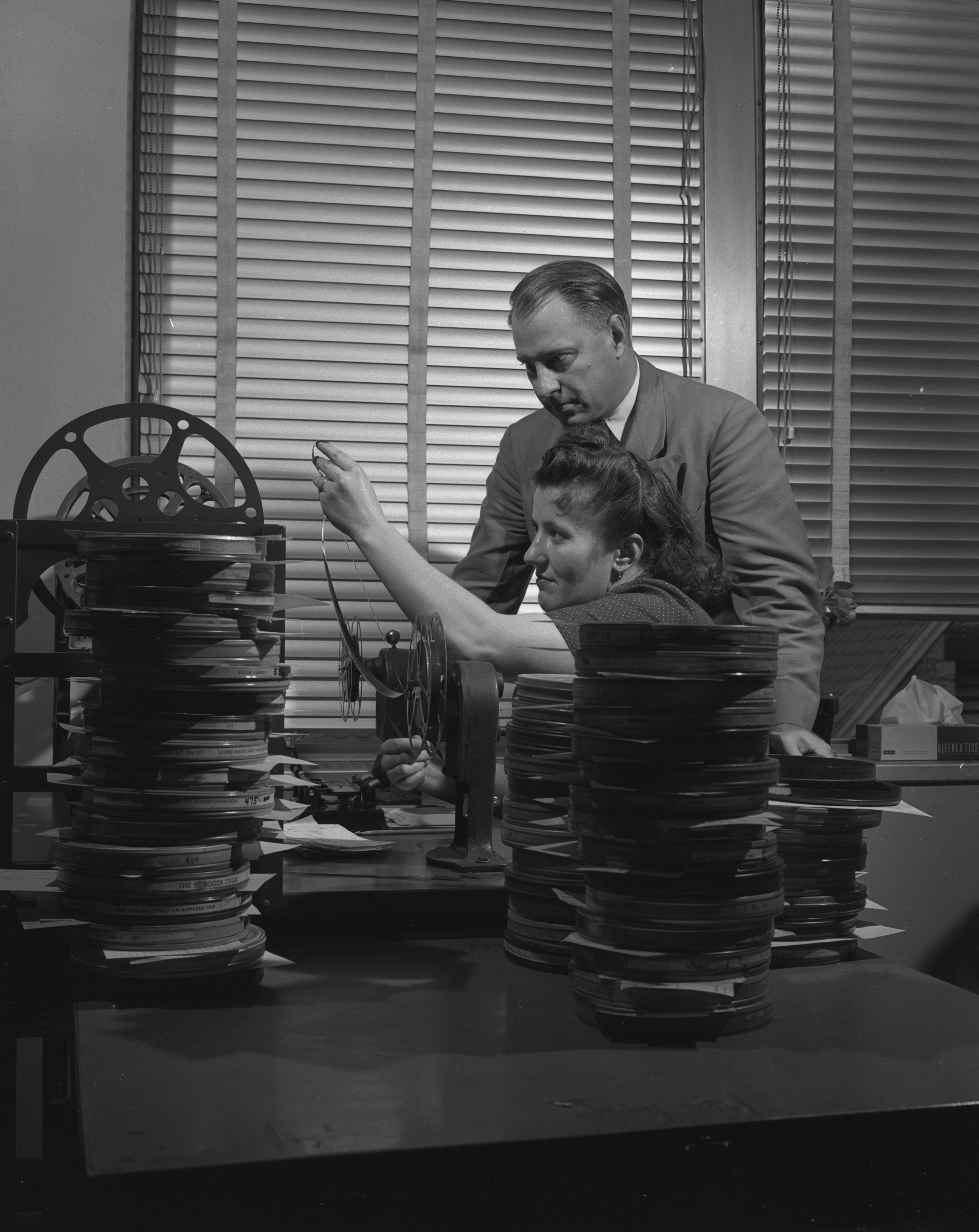 Film Inspector Irmagard Klass and director Ford L. Lemler of the U-M Audio-Visual Center, September 1952 image