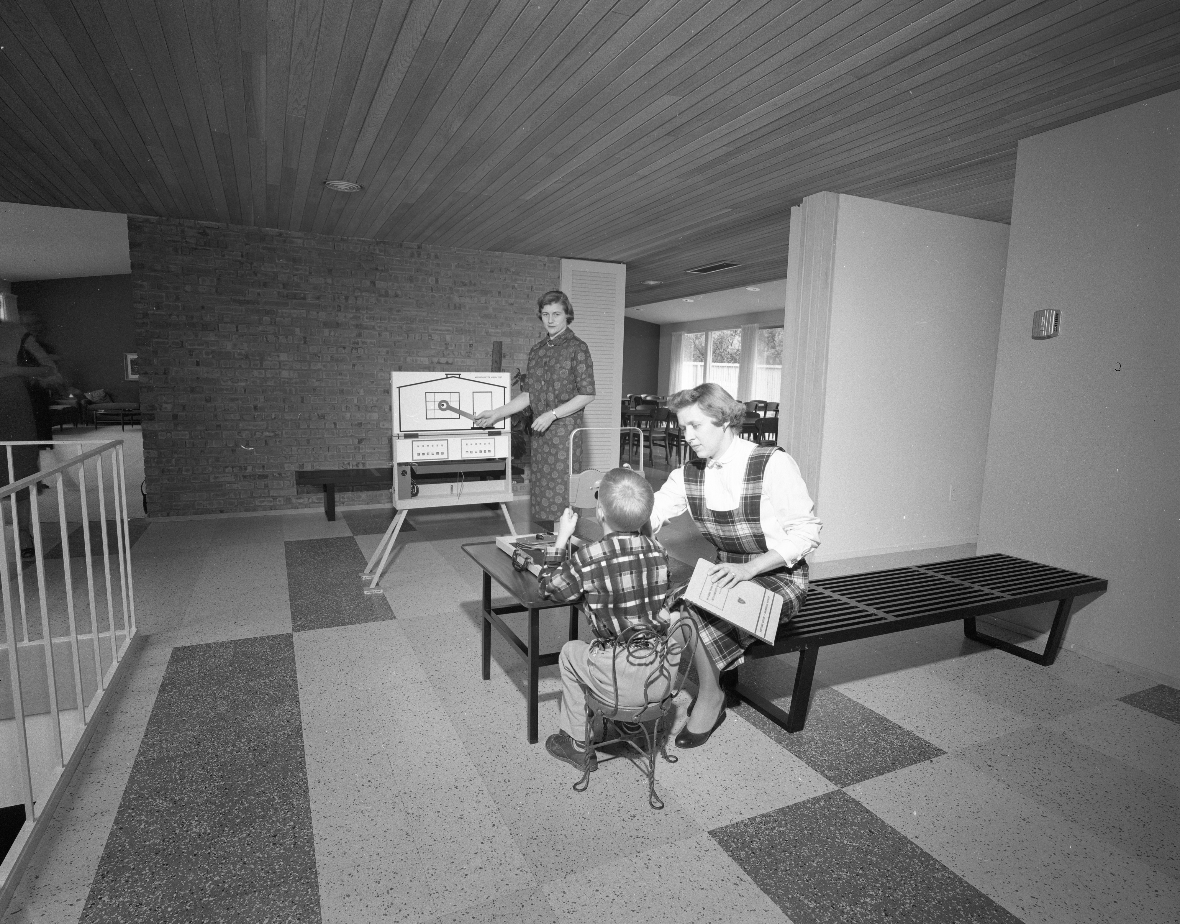 Lobby Serves Many Purposes at New Delta Gamma Sorority House at 1800 Washtenaw Ave., October 1958 image
