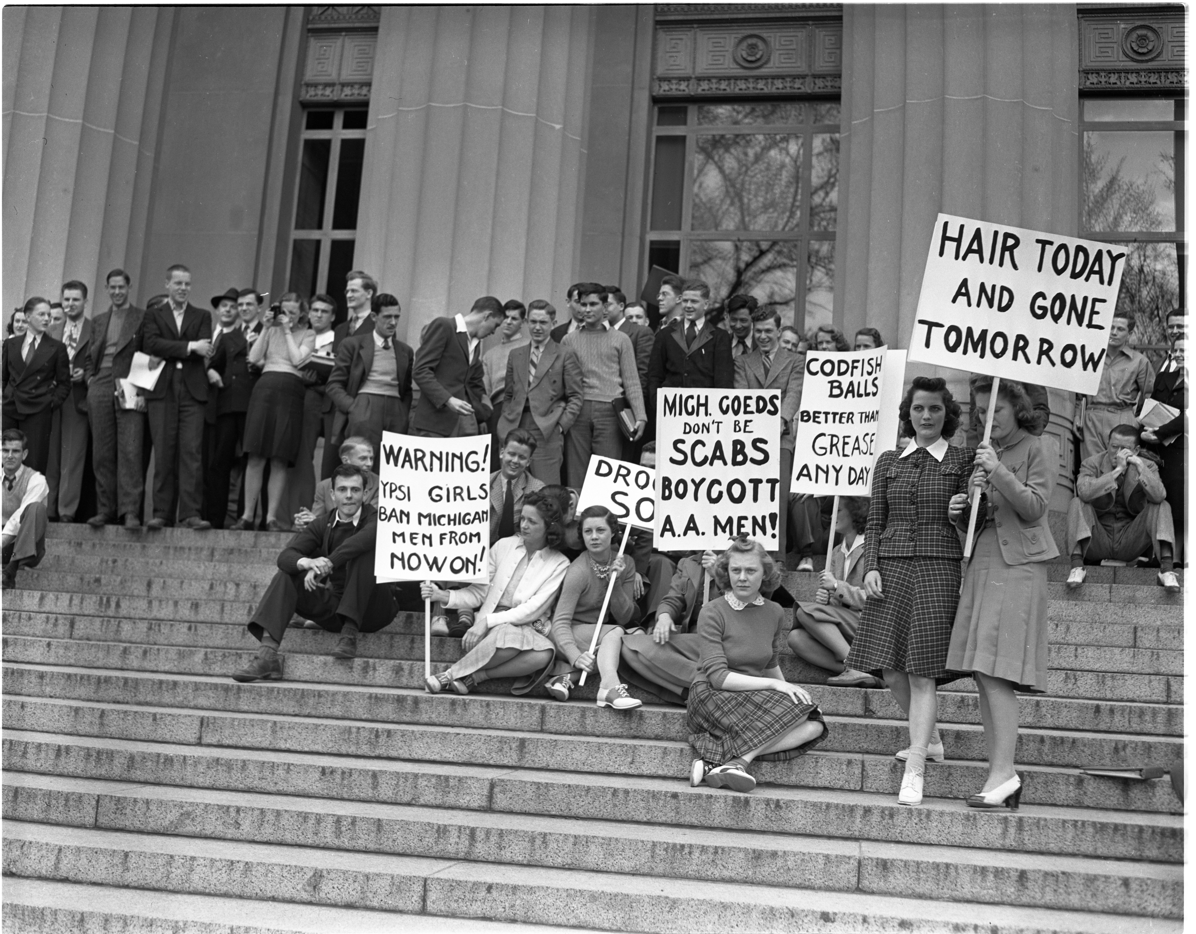 Ypsilanti women from Michigan State Normal College in Ypsilanti picket U-M men in front of Angell Hall, May 1940 image