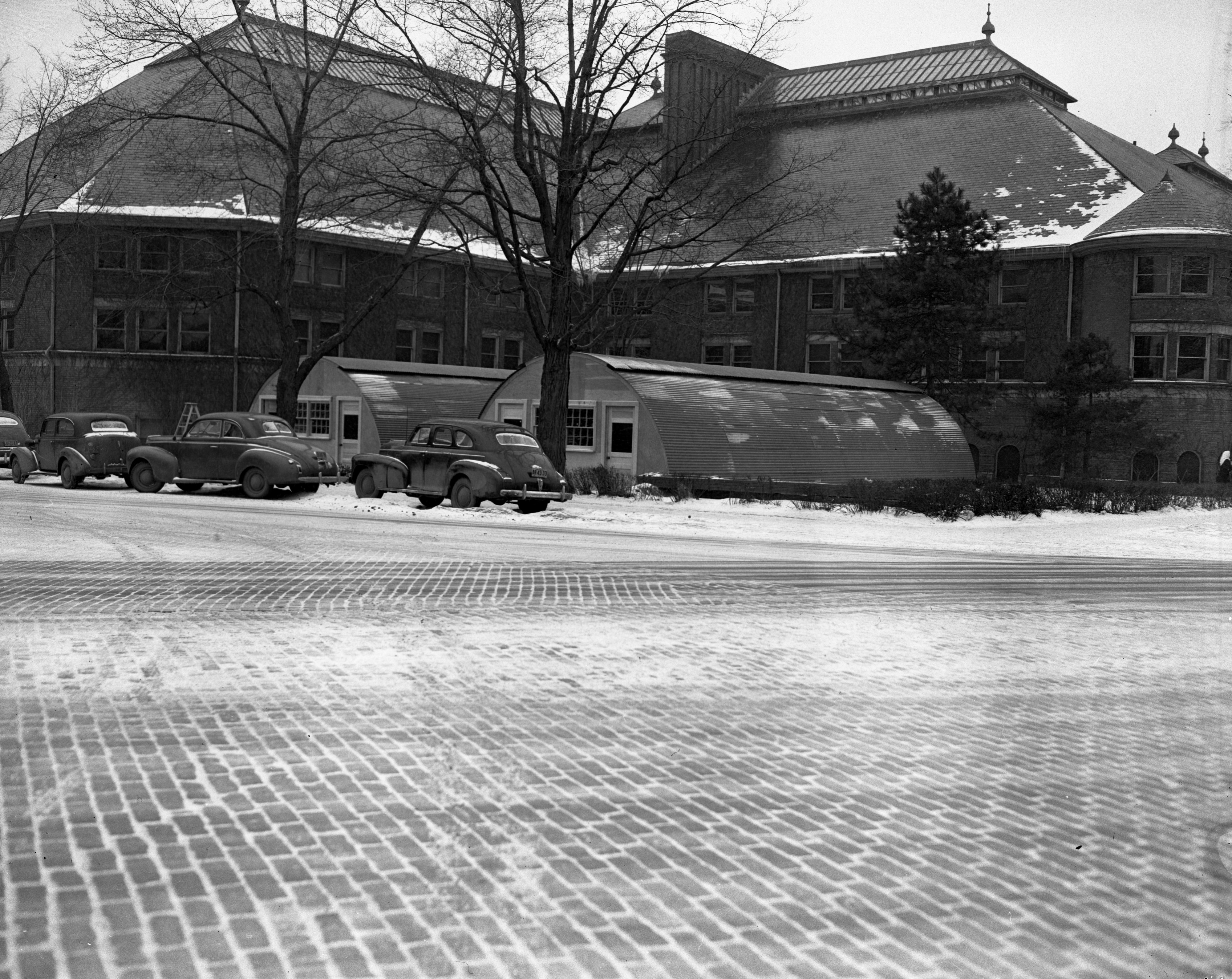 Quonset hut housing on U-M campus, February 1947 image