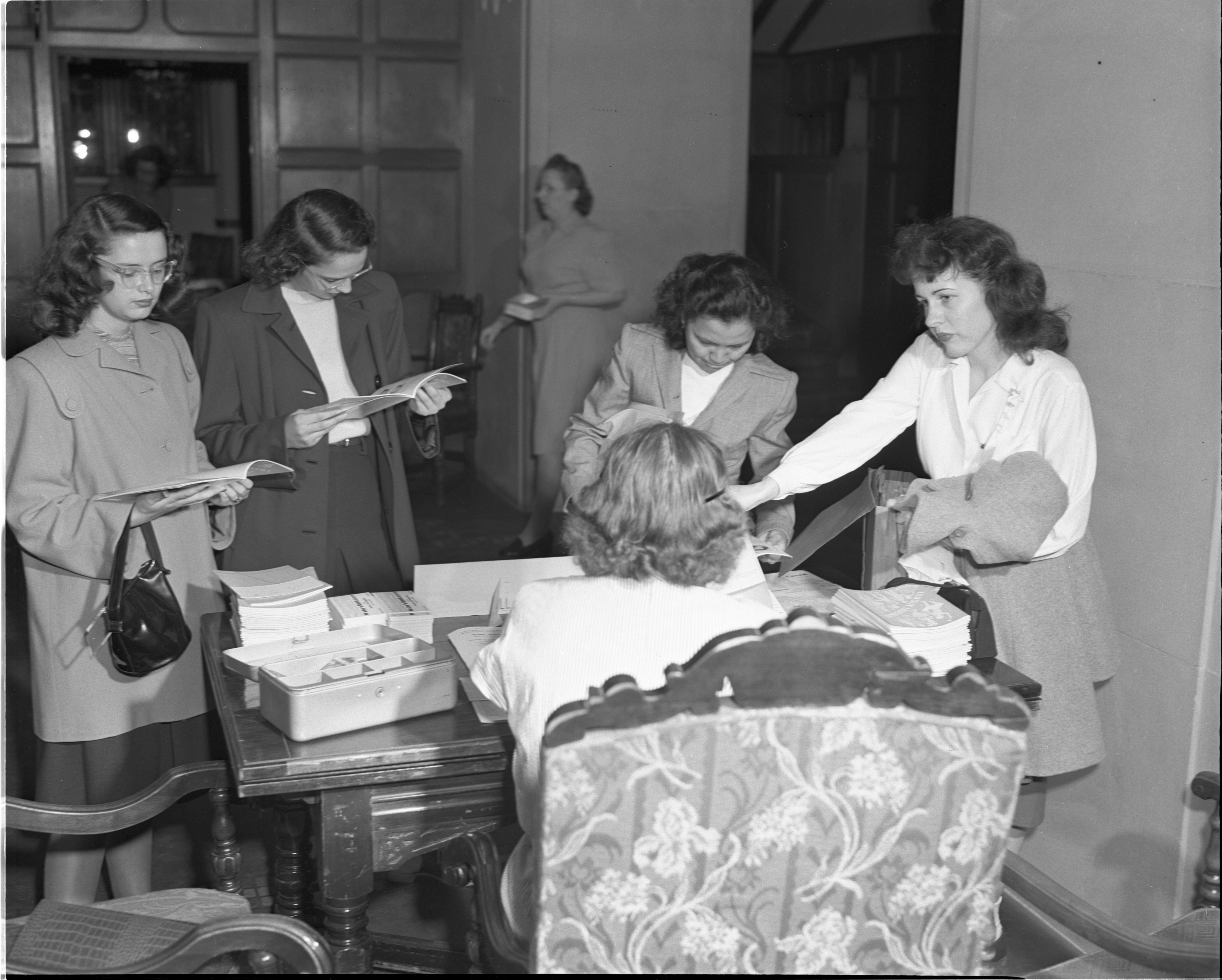 New University Of Michigan Students Visit A Freshman Information Center At The Michigan League, September 1947 image