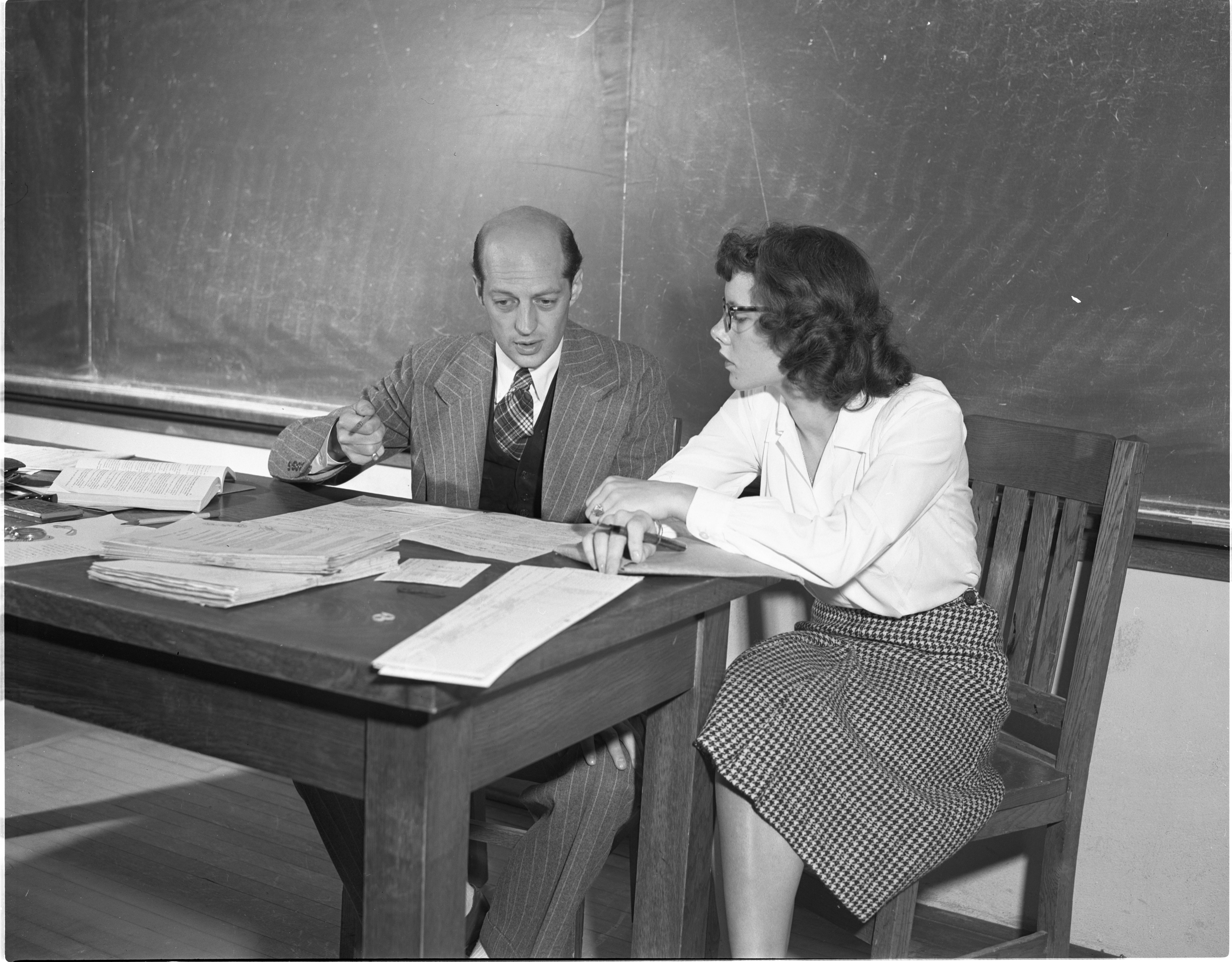 A New University Of Michigan Student Meets With Dr. Hugh Norton About Her Academic Program, September 1947 image