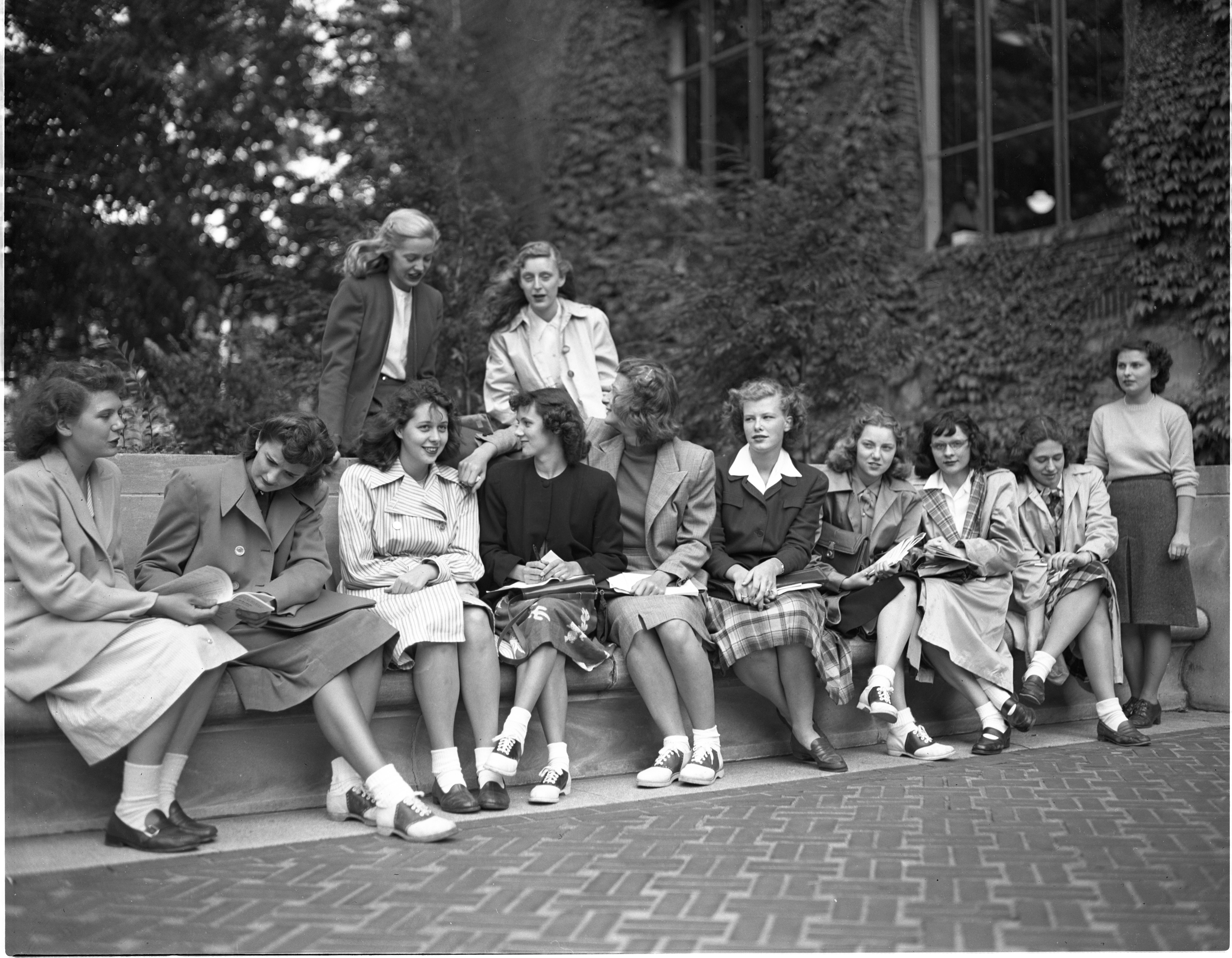 New University Of Michigan Students Wait For Their Adviser During Freshman Orientation, September 1947 image