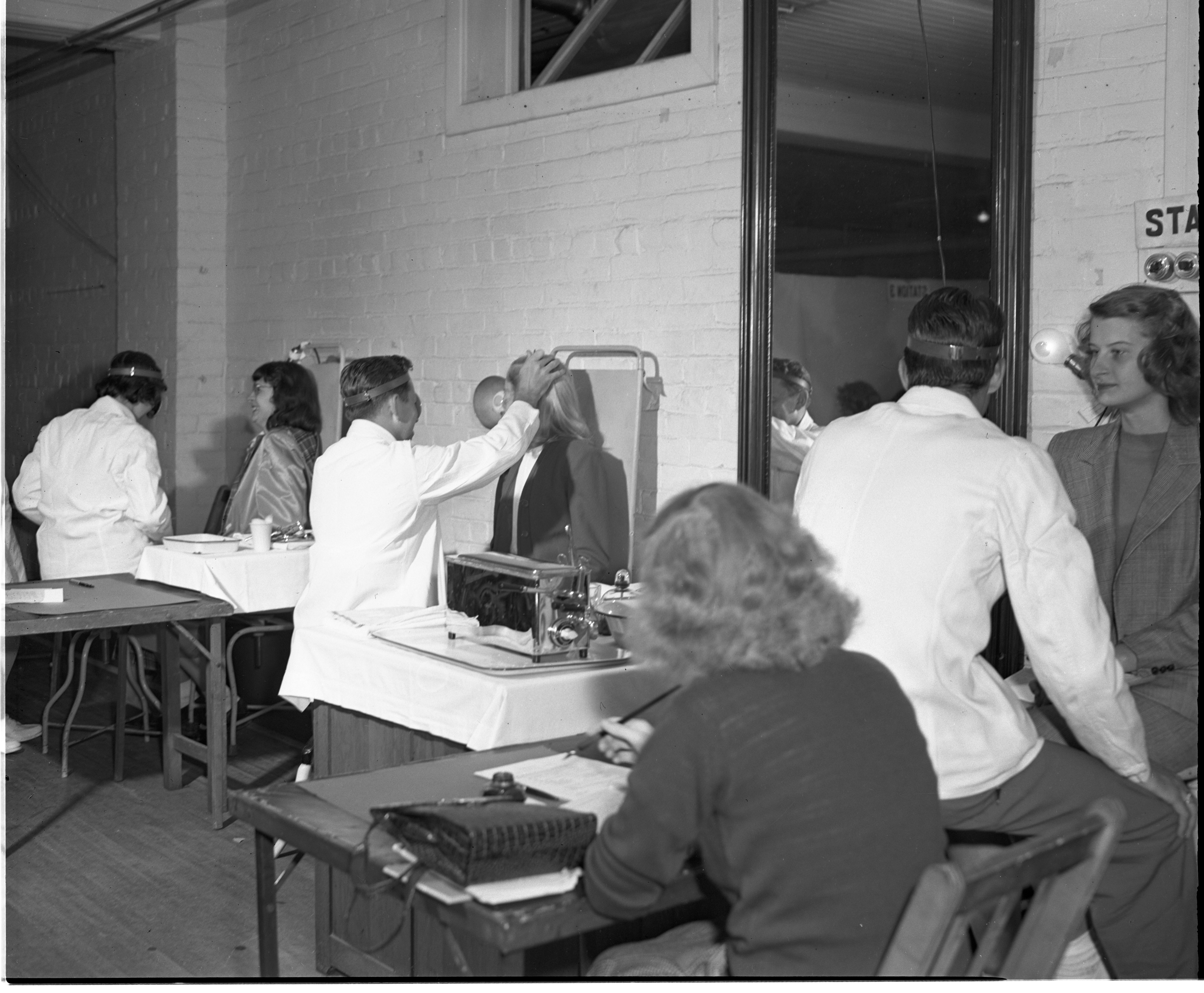 New University Of Michigan Students Receive Ear, Nose, and Throat Exams, September 1947 image