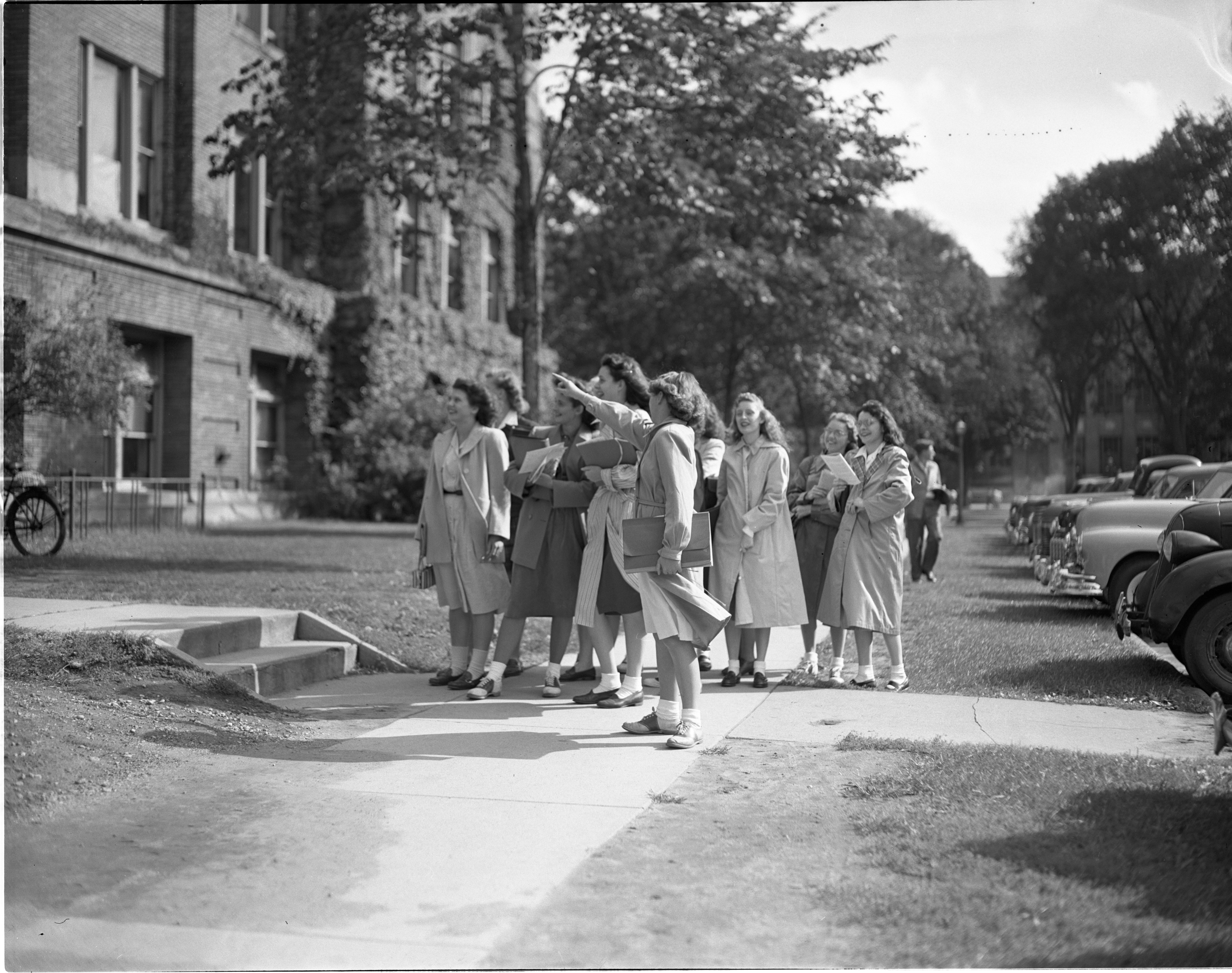 New University Of Michigan Students Tour The Campus During Orientation, September 1947 image