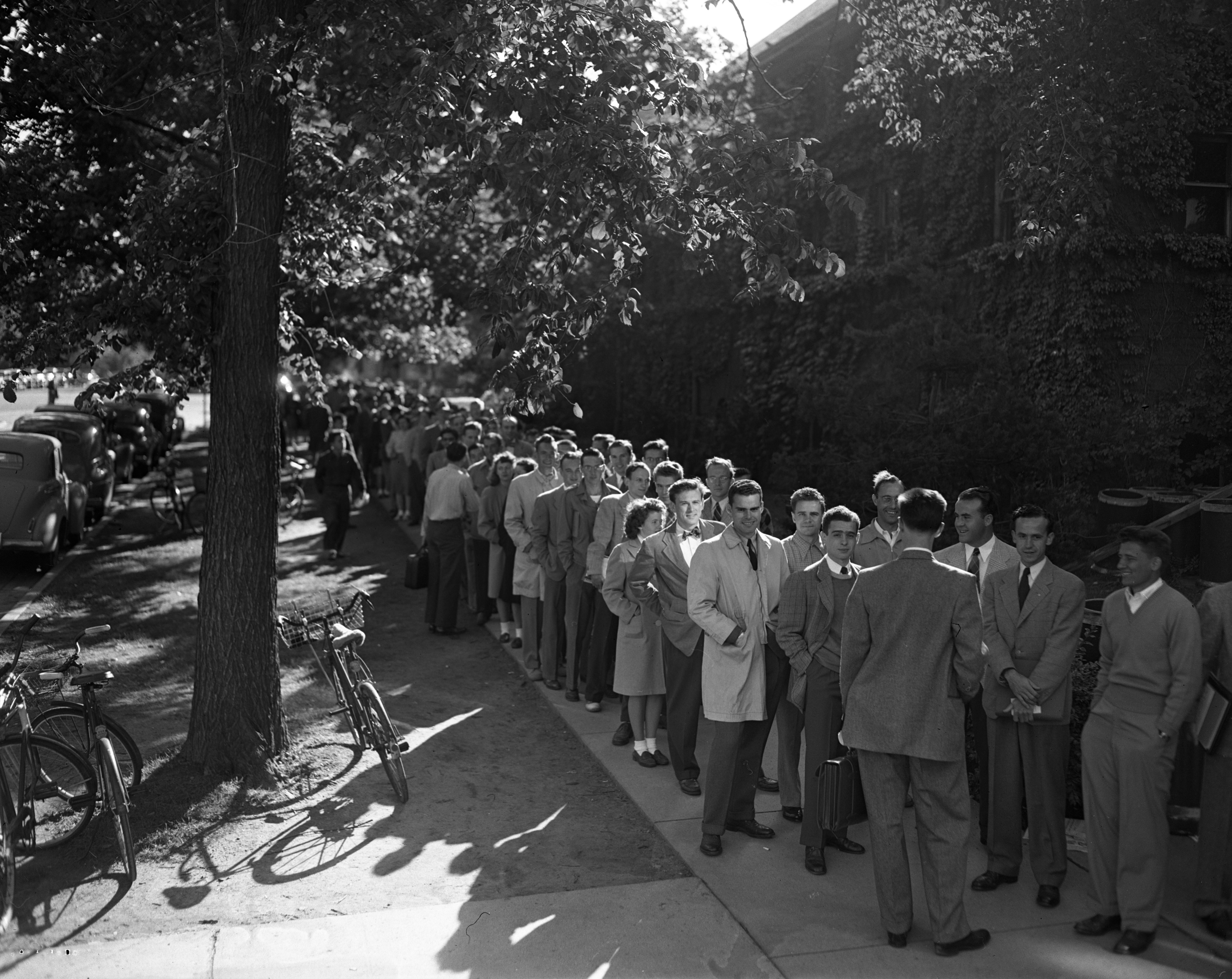 University of Michigan students in line to buy football tickets at Barbour Gym, September 1947 image
