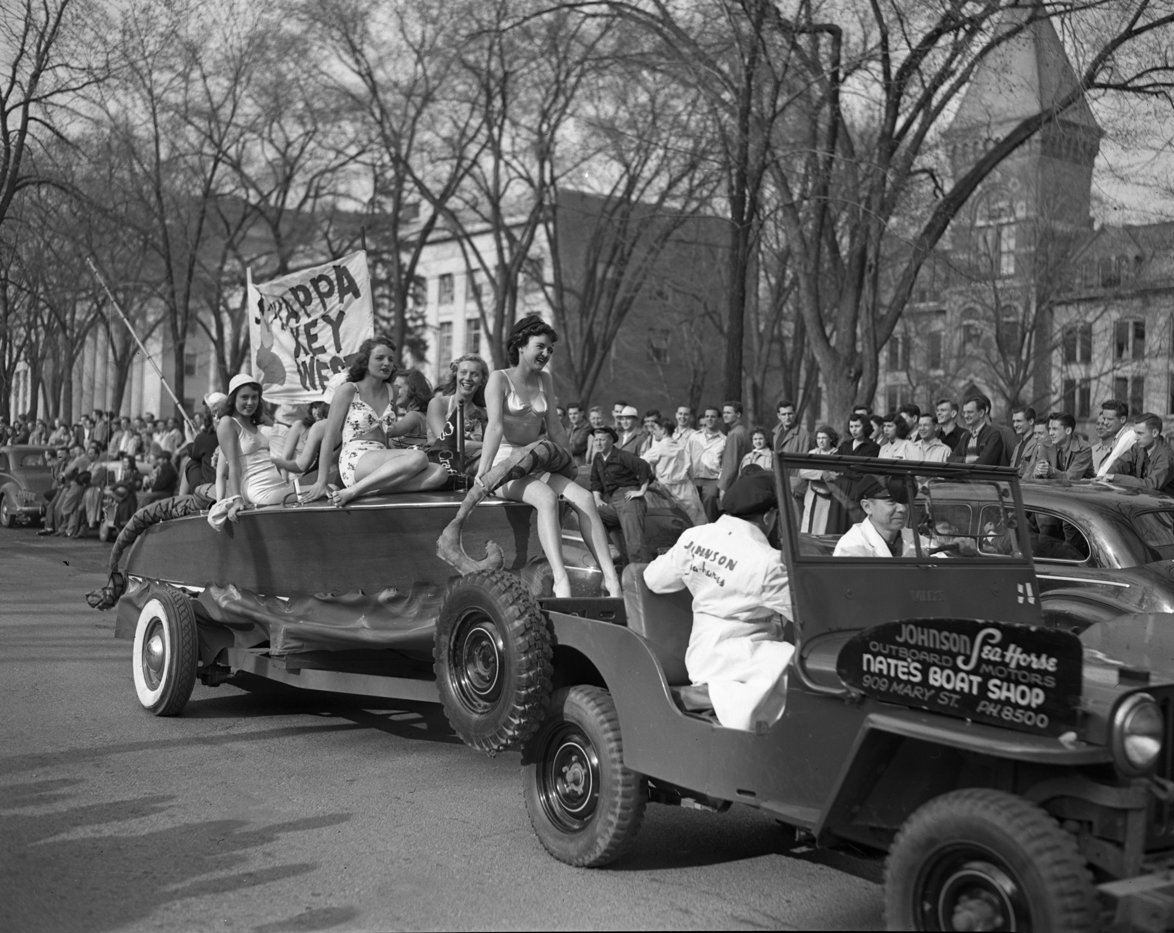 Nate's Boat Shop in the U-M Michigras Parade, April 1948 image