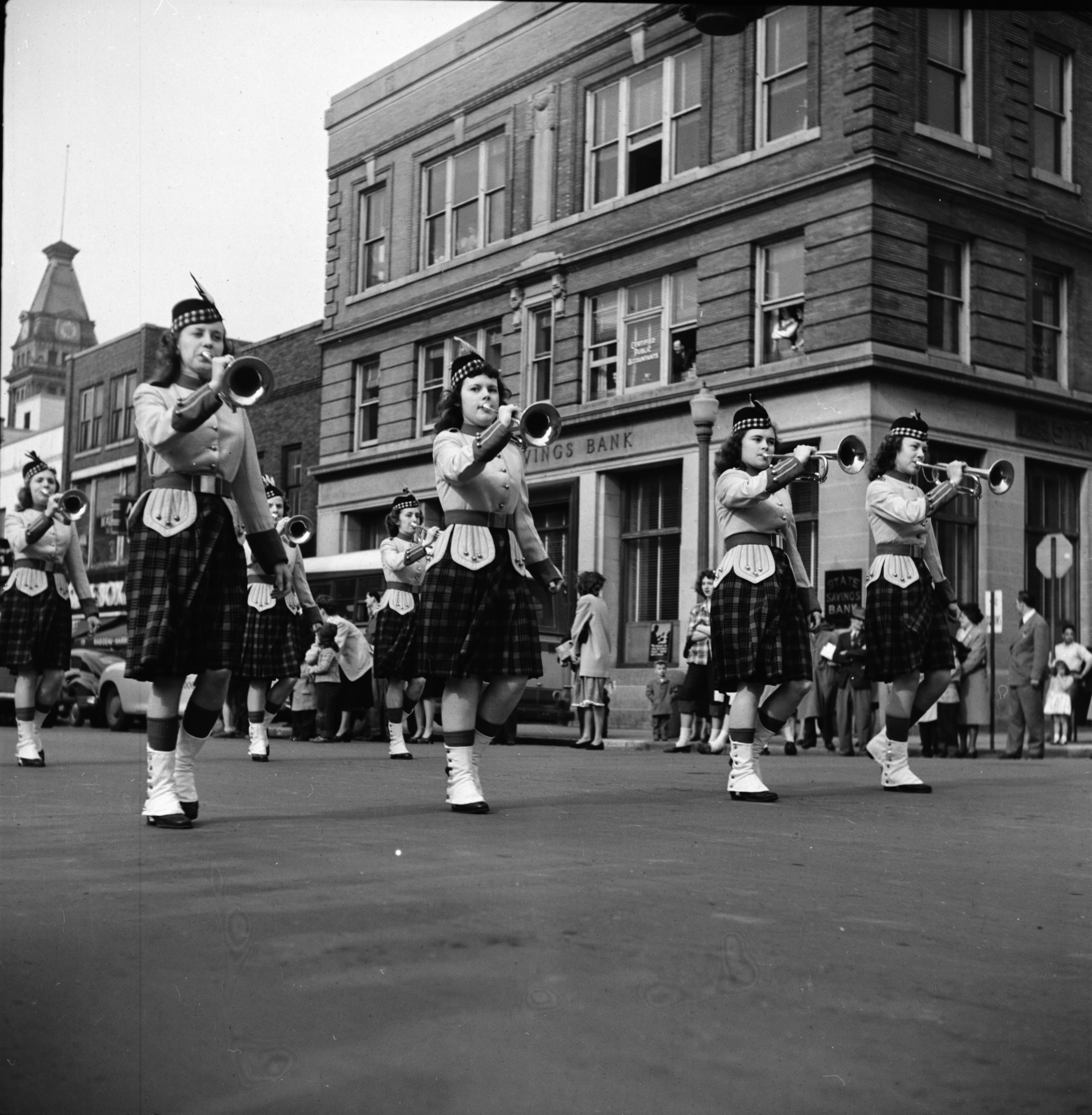 Female Trumpeters March in the U-M Michigras Parade, April 1948 image
