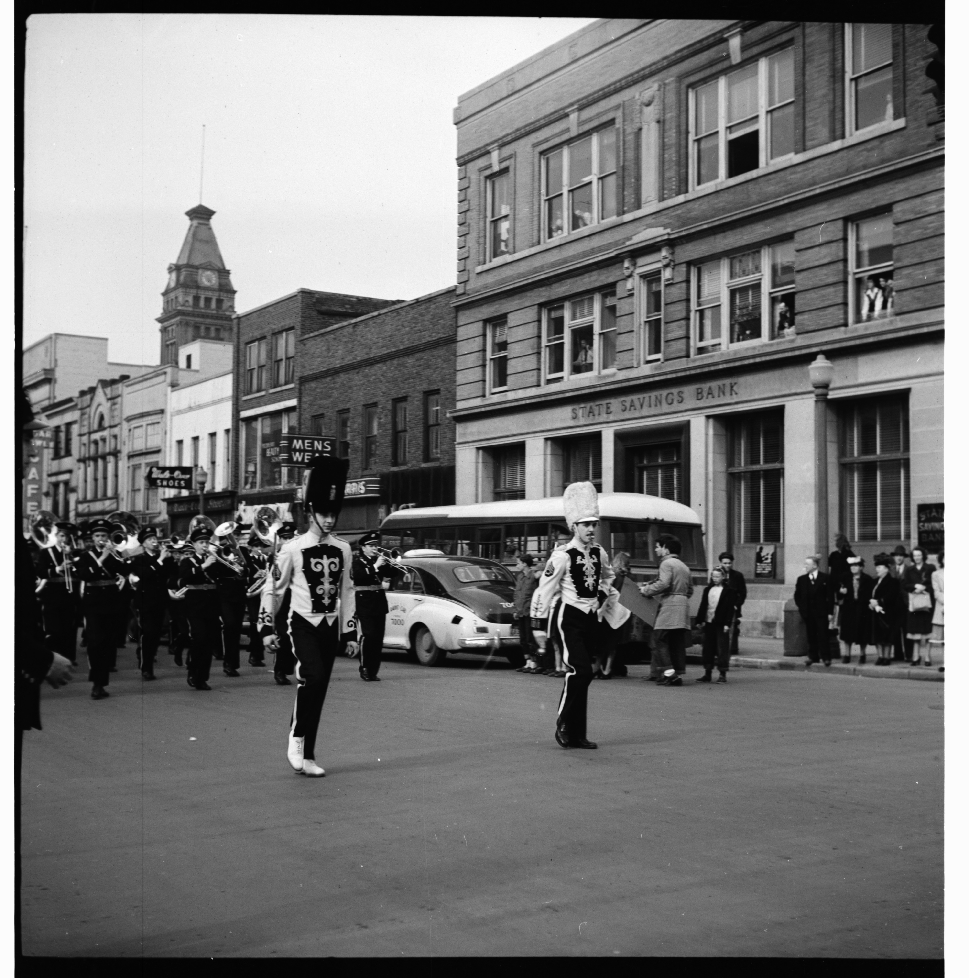 Marching Band in the U-M Michigras Parade, April 1948 image