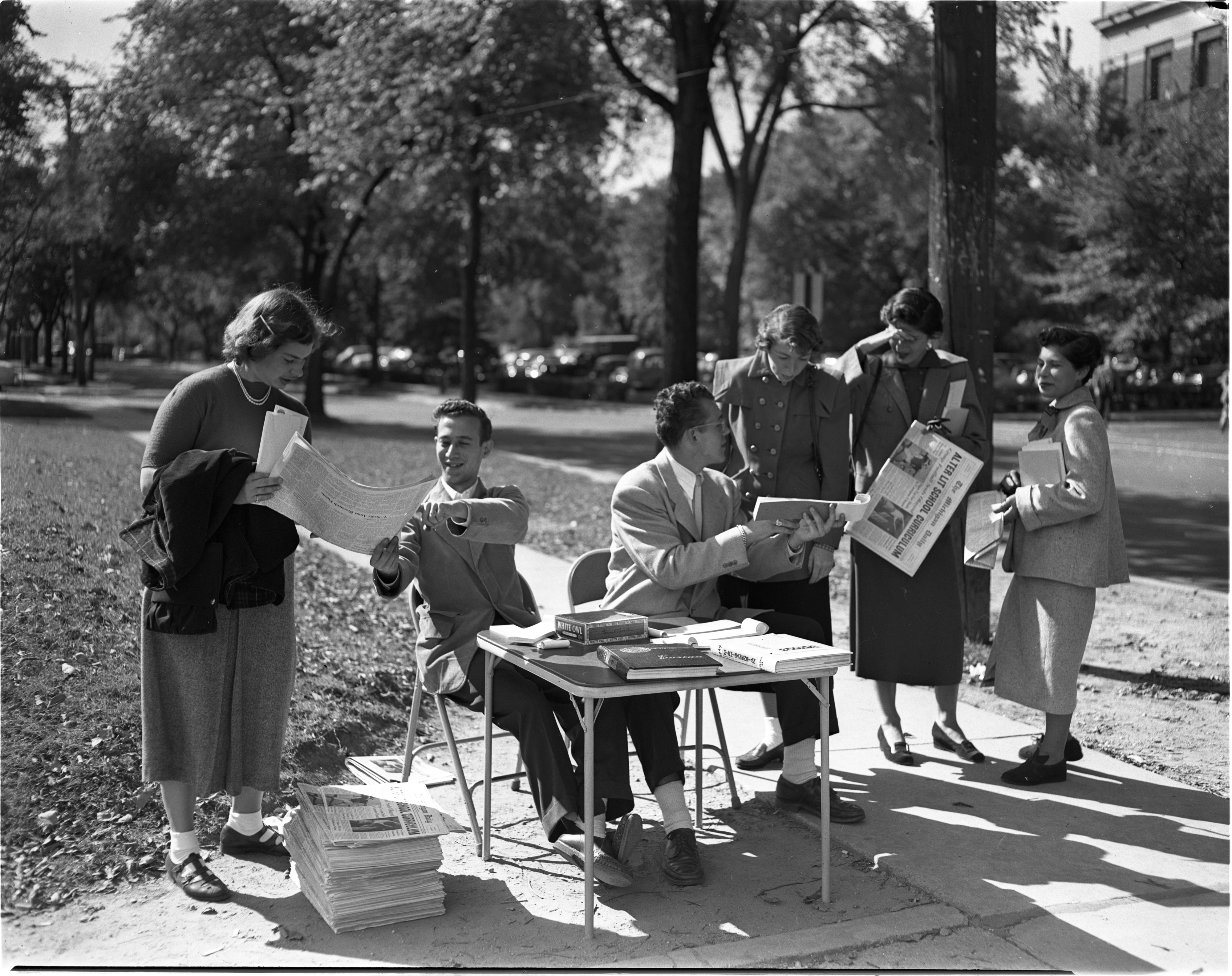 Students Selling Michigan Daily Newspaper, September 1949 image