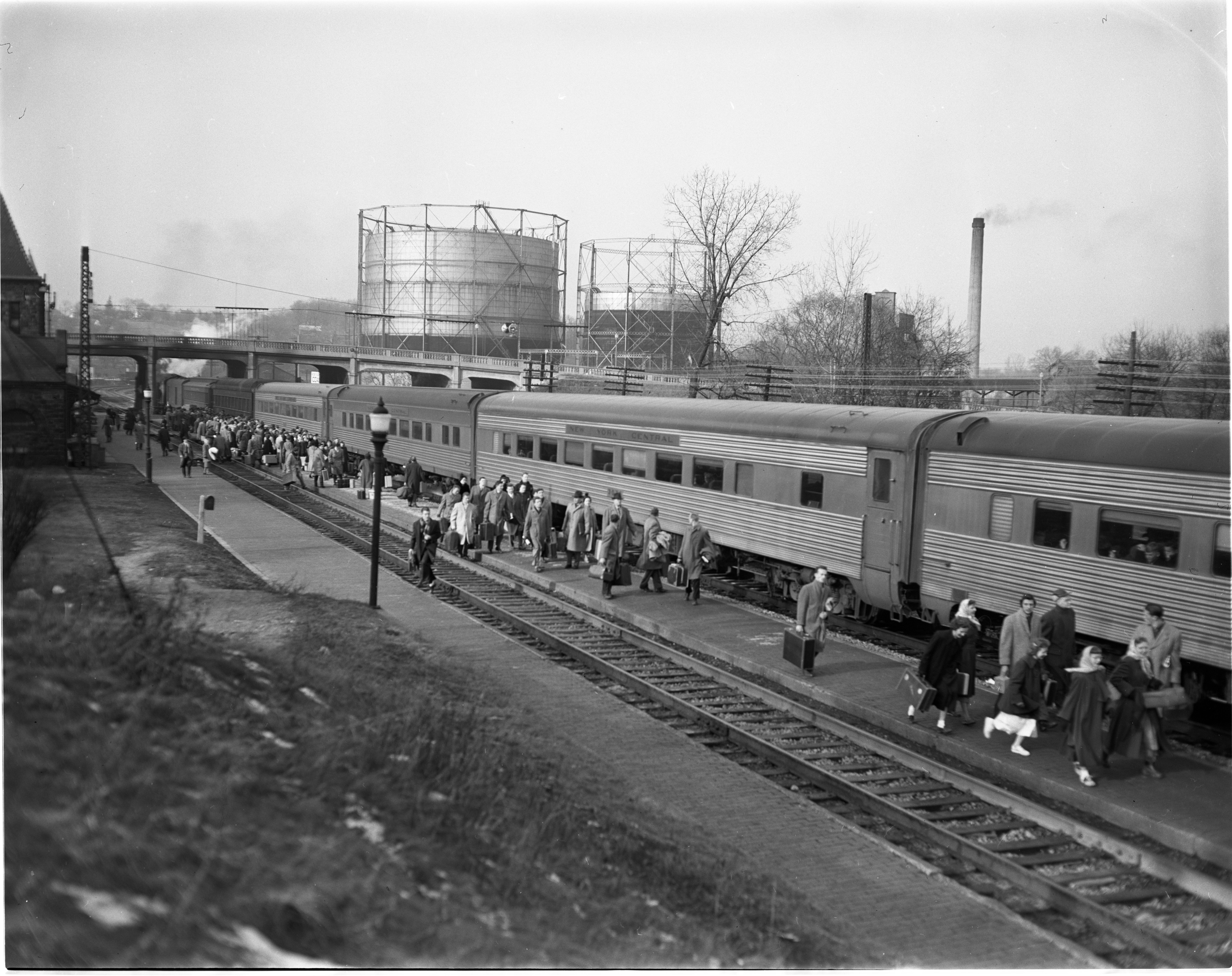 Students At M.C. Station Prepare To Depart For Holidays, December 1949 image